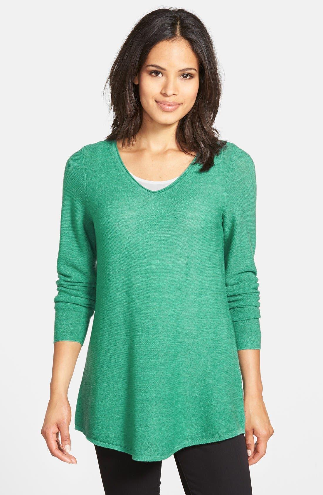 Main Image - Eileen Fisher Shirttail Hem V-Neck Merino Sweater