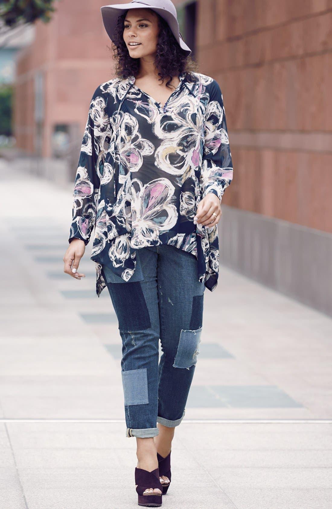 Alternate Image 4  - Melissa McCarthy Seven7 Patch Detail Roll Cuff Girlfriend Jeans (Plus Size)