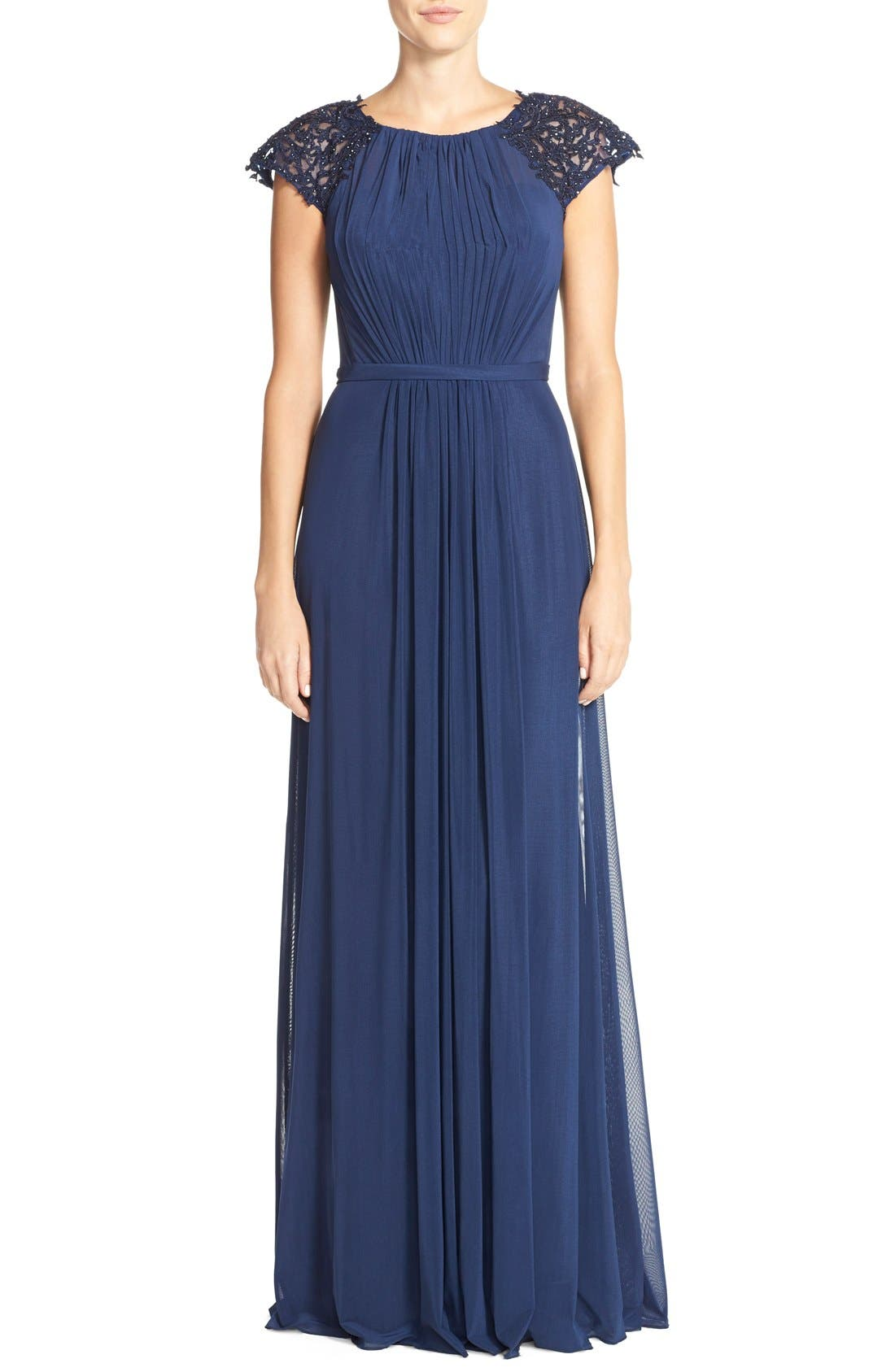 LA FEMME Embellished Gathered Net Jersey Gown