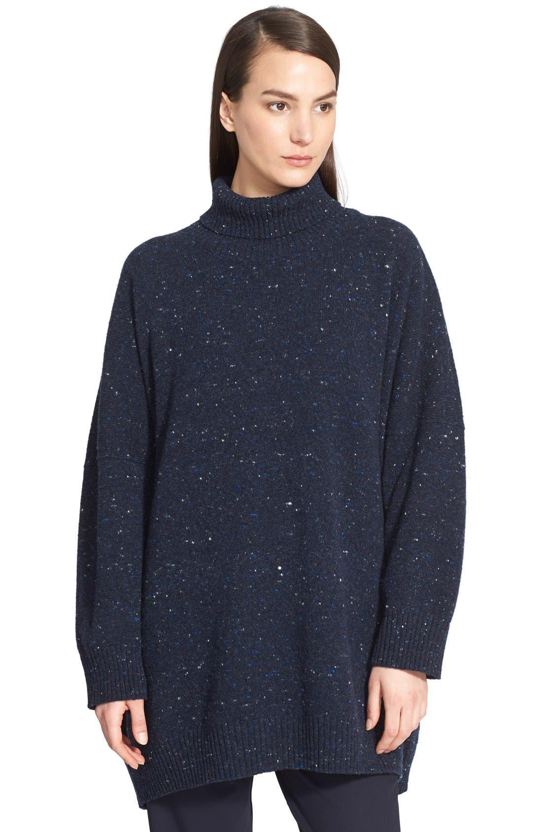 Main Image - eskandar Lightweight Tweed Turtleneck Sweater
