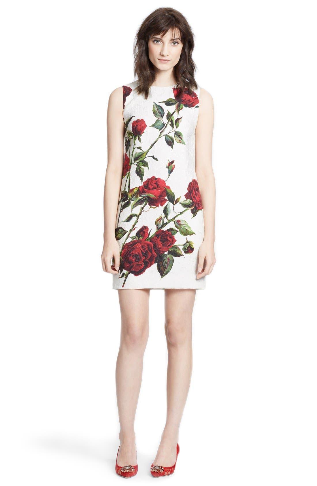 Main Image - Dolce&Gabbana Rose Print Brocade Pencil Dress