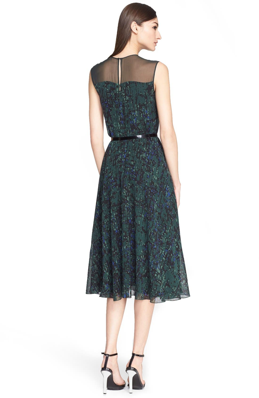 Alternate Image 2  - Jason Wu Abstract Print Pintuck Pleated Georgette Dress with Belt