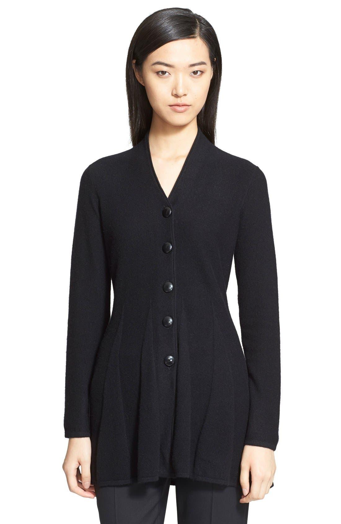 Alternate Image 1 Selected - Armani Collezioni Godet Pleat Cashmere Cardigan