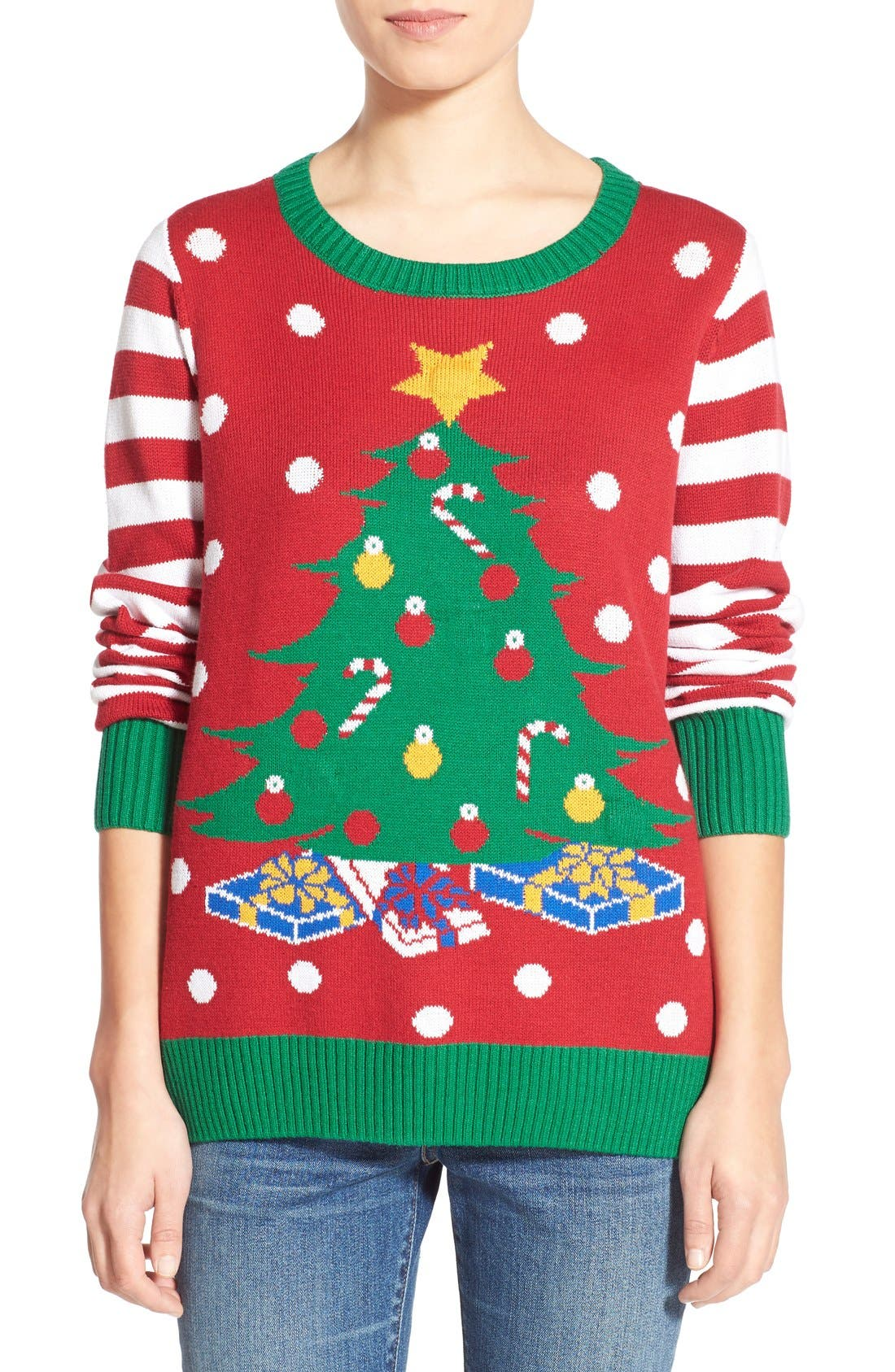 Alternate Image 1 Selected - Ugly Christmas Sweater Light-Up Christmas Tree Sweater