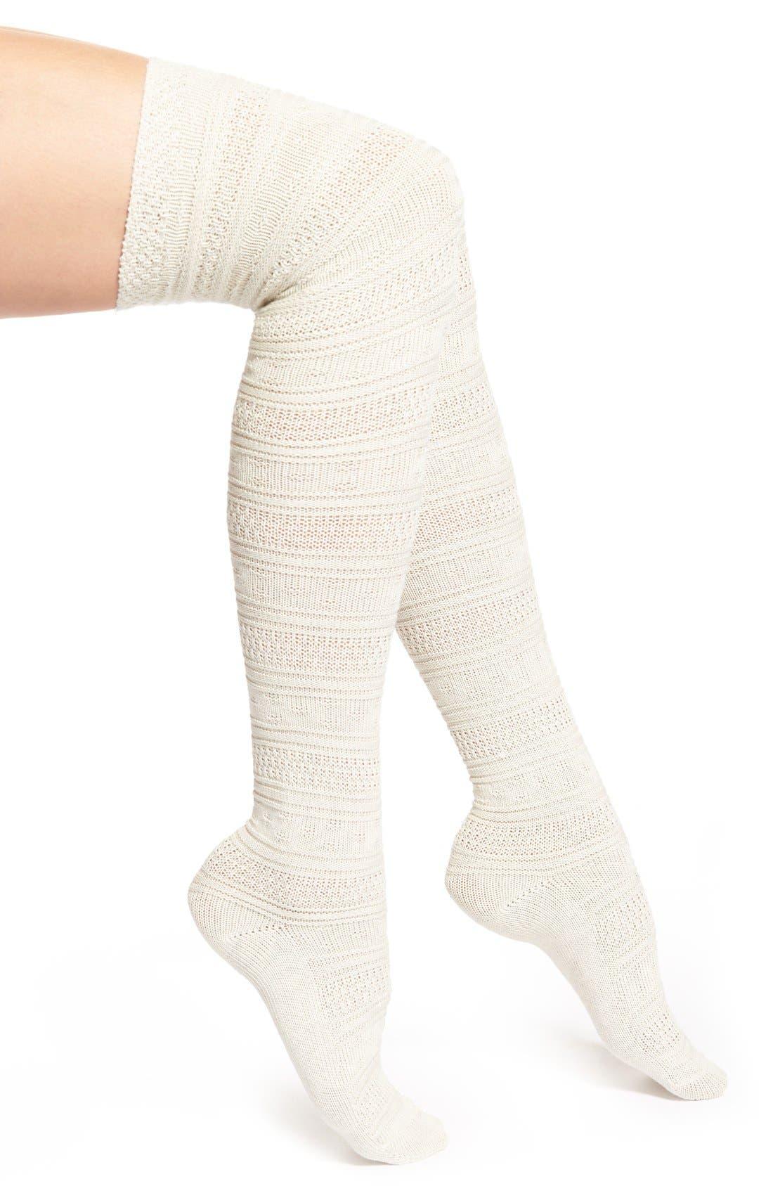 Main Image - Lemon 'Ice Dust' Crochet Over the Knee Socks