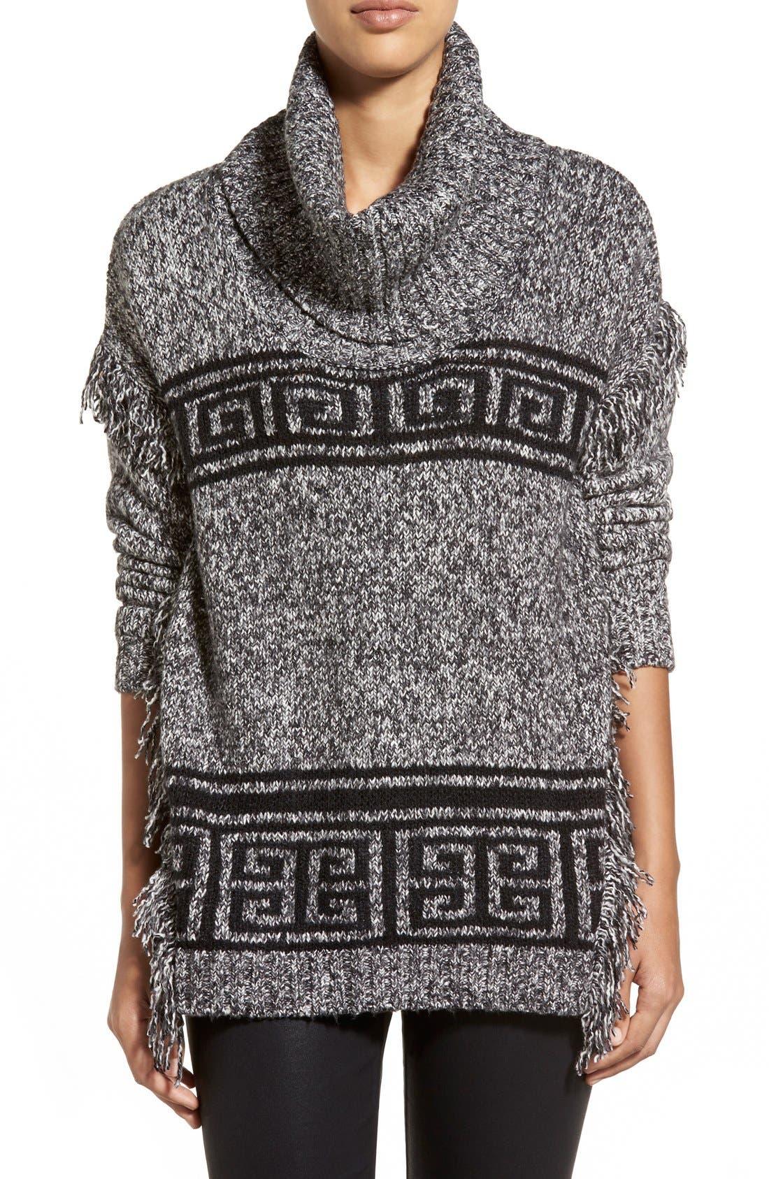 Main Image - kensie Fringe Trim Turtleneck Sweater