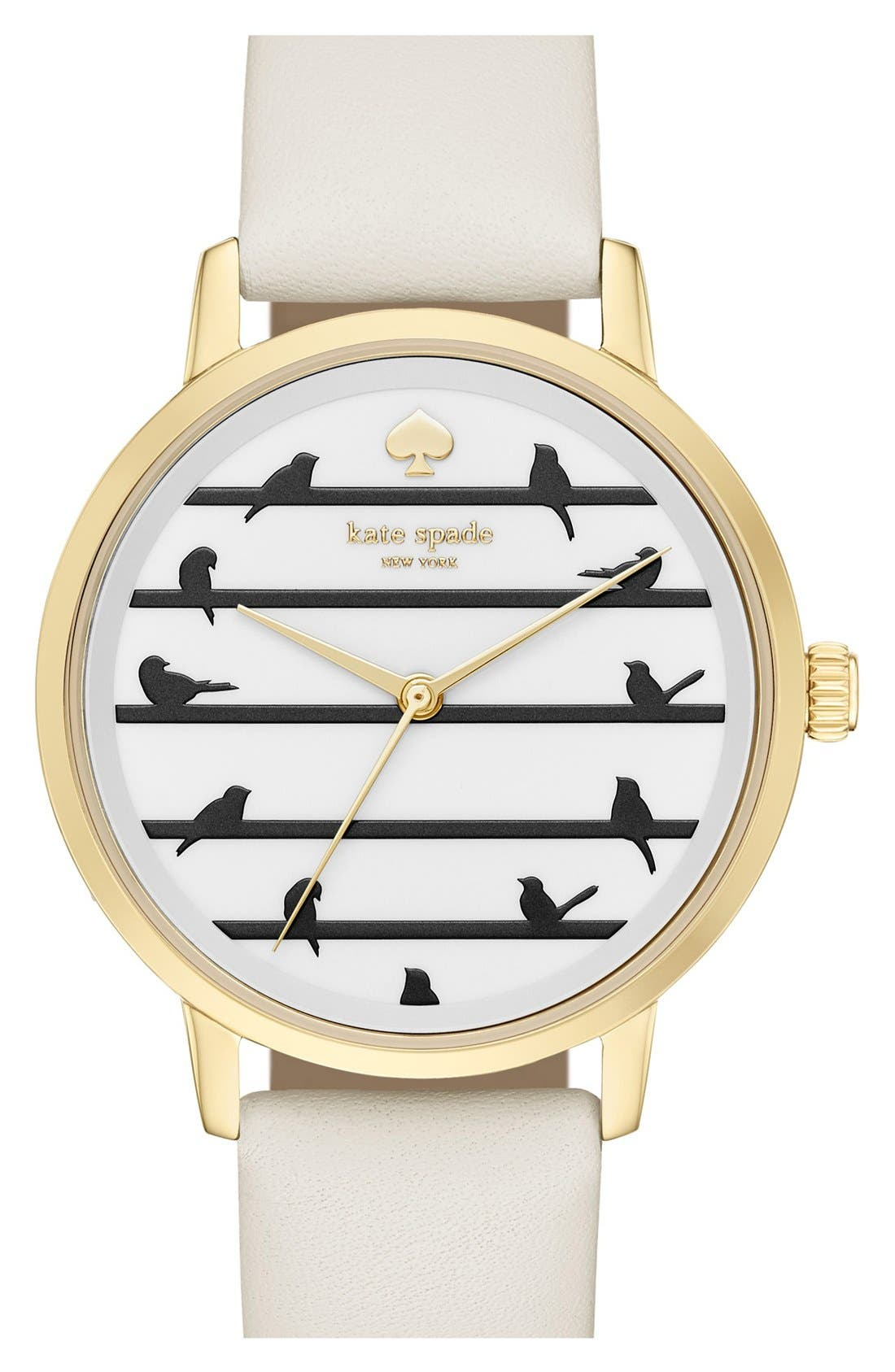 Main Image - kate spade new york 'birds on a wire - metro' leather strap watch, 34mm