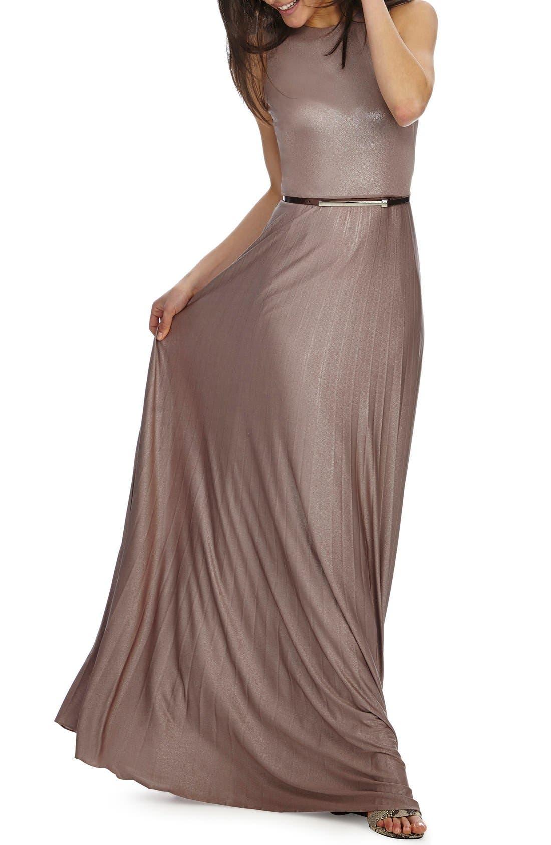 Main Image - Donna Morgan Pleat Foil Knit Maxi Dress