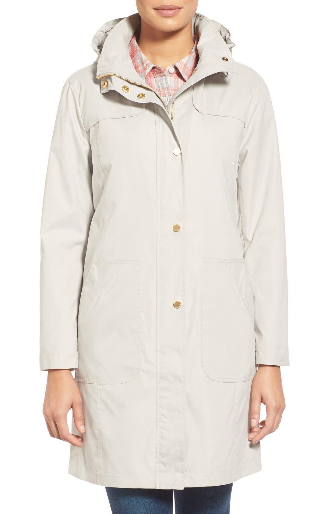 Ellen Tracy A-Line Raincoat with Detachable Hood