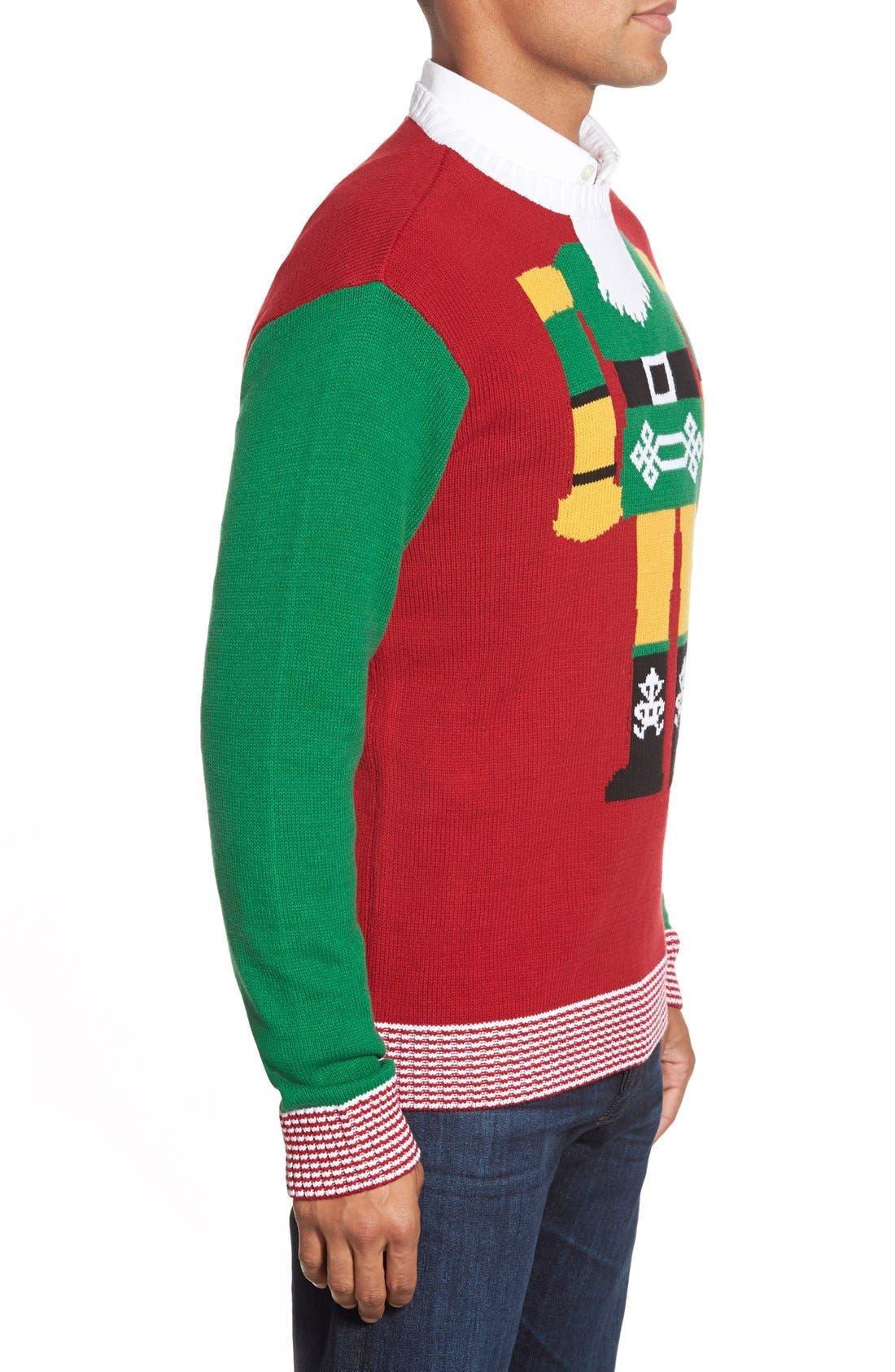 Alternate Image 3  - Ugly Christmas Sweater 'Nutcracker Face' Holiday Crewneck Sweater