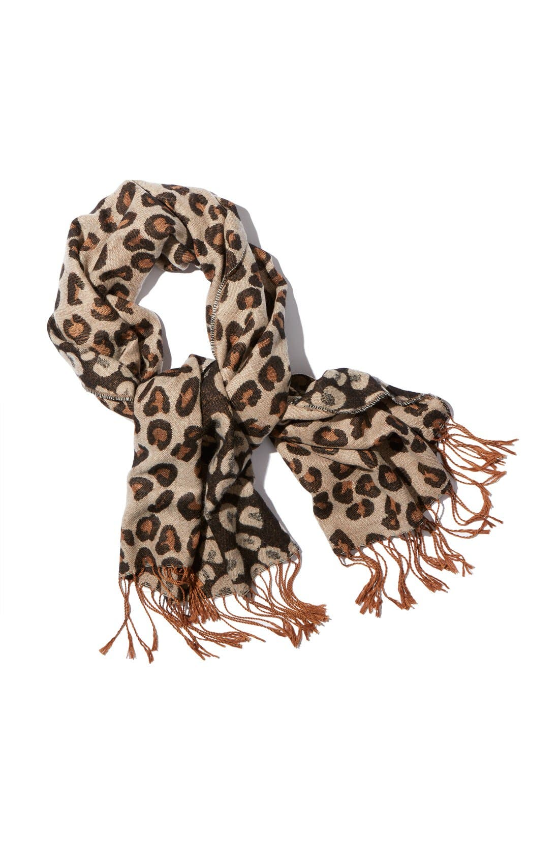 Alternate Image 3  - BP Leopard Print Fringe Oblong Scarf