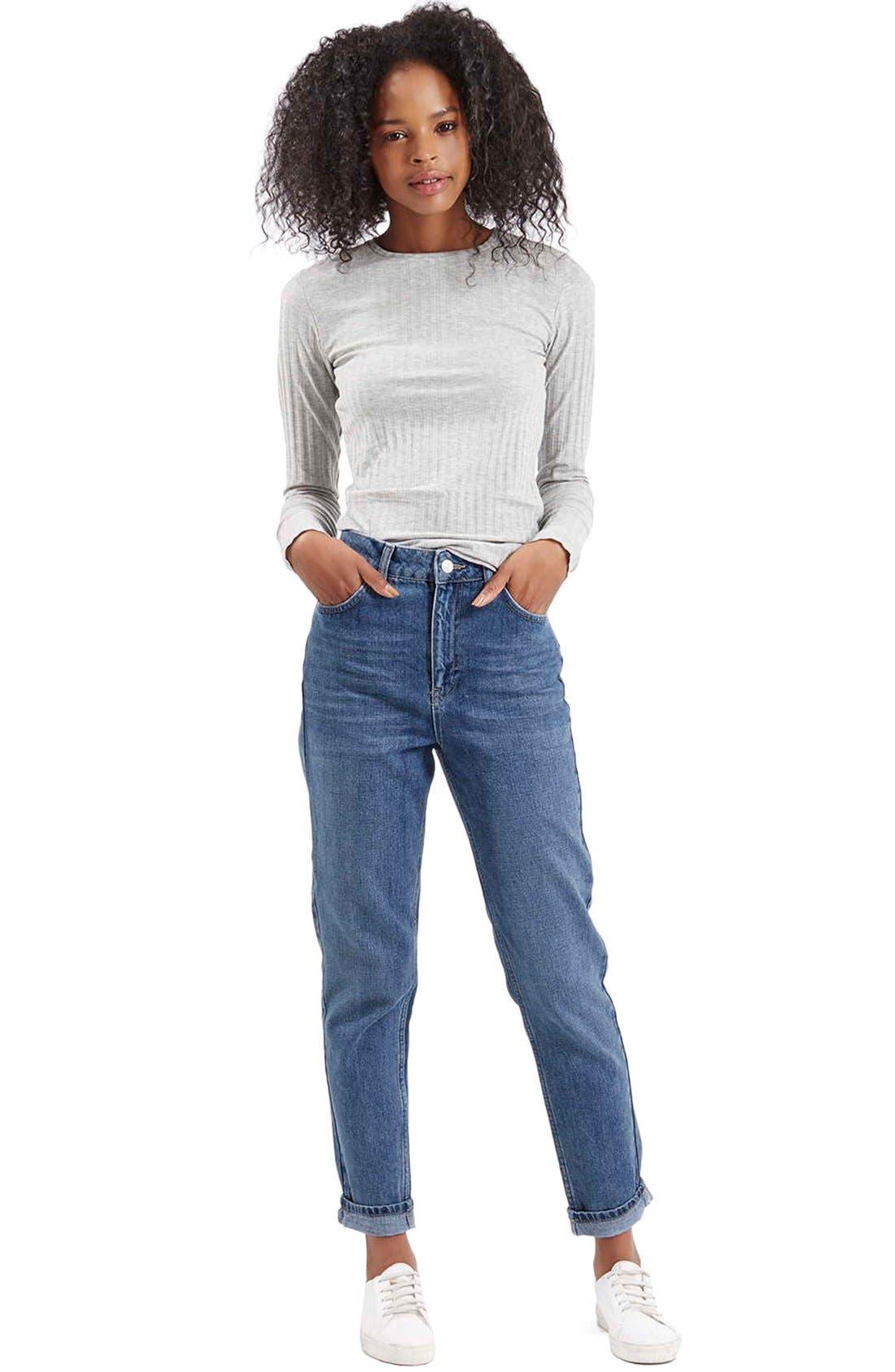 Alternate Image 2  - Topshop Moto High Rise Crop Jeans (Dark Denim)