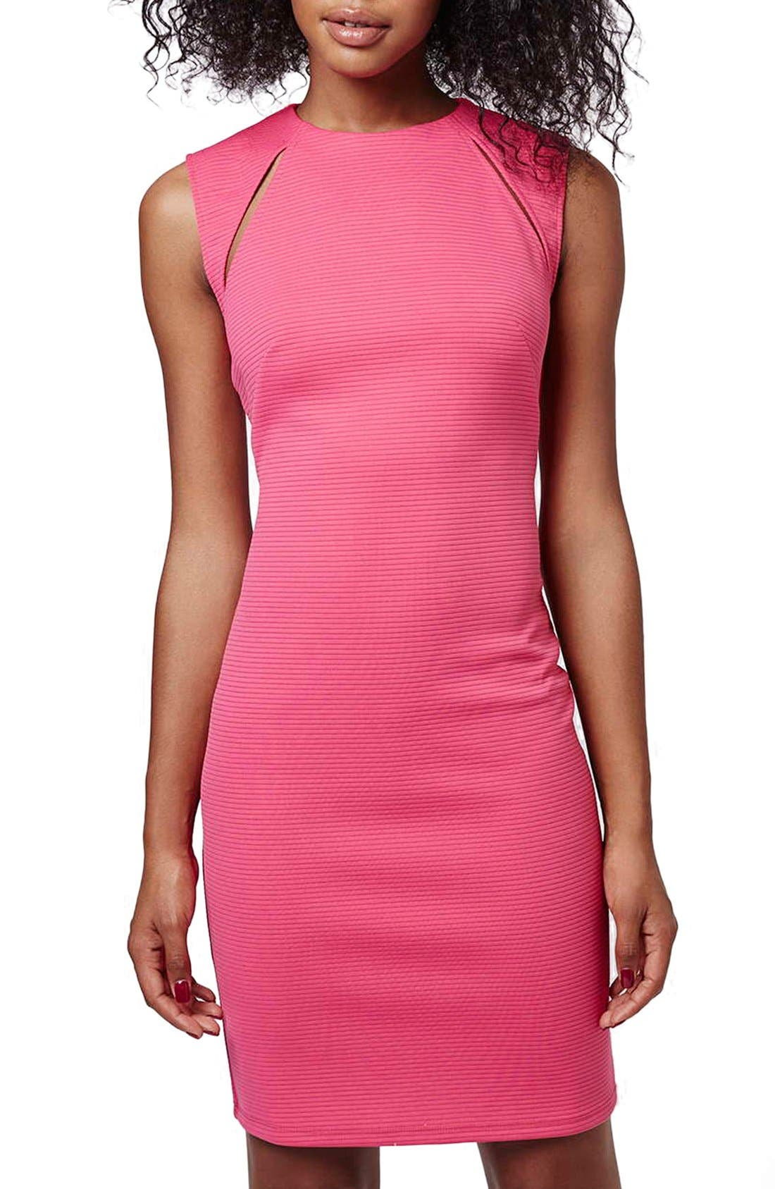 Alternate Image 2  - Topshop Ribbed Cutout Body-Con Dress
