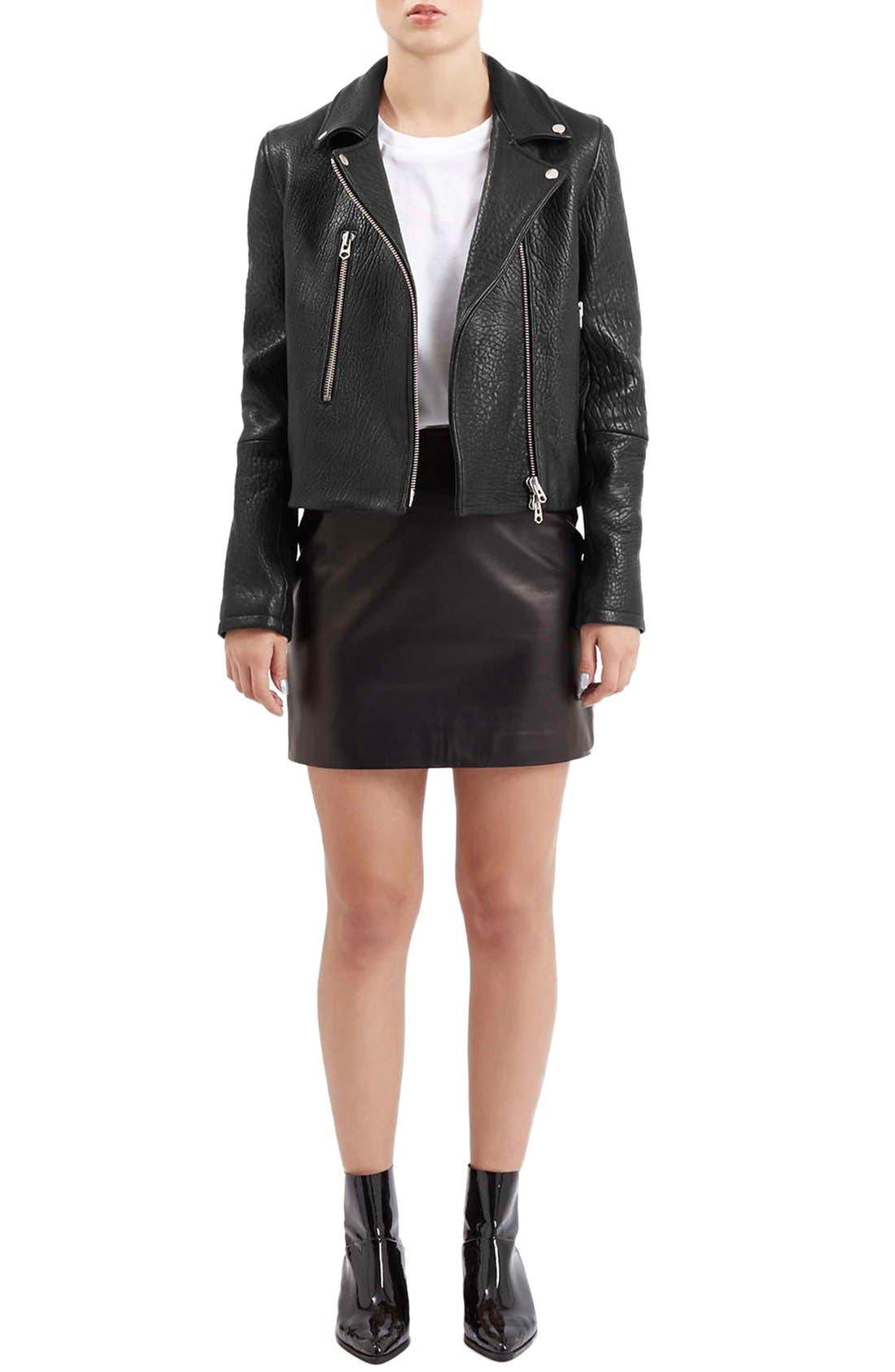 Alternate Image 3  - Topshop Boutique Leather Biker Jacket