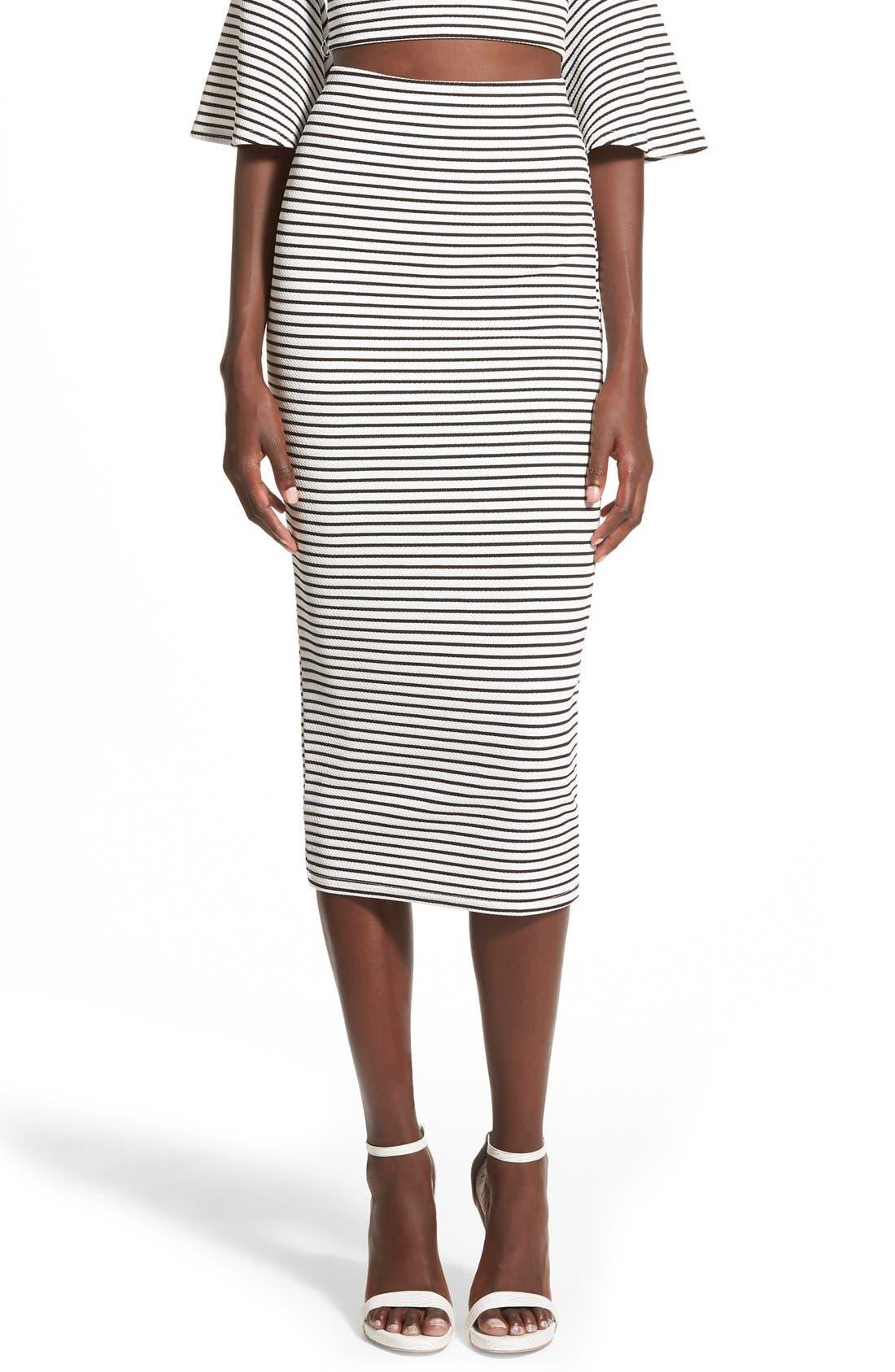 Alternate Image 1 Selected - Missguided Stripe Longline Midi Skirt