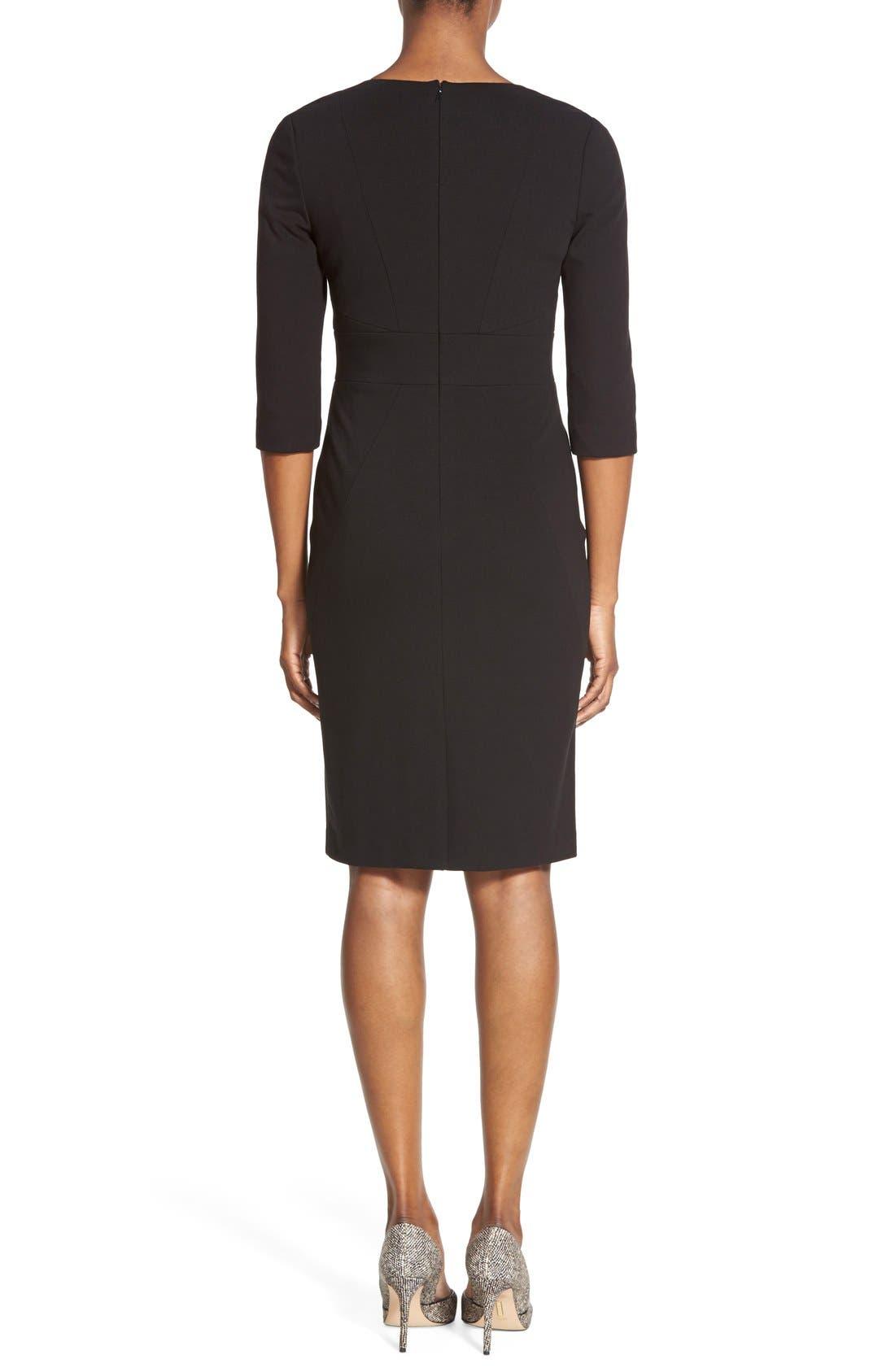 Alternate Image 2  - Classiques Entier® V-Neck Ponte Sheath Dress (Regular & Petite)