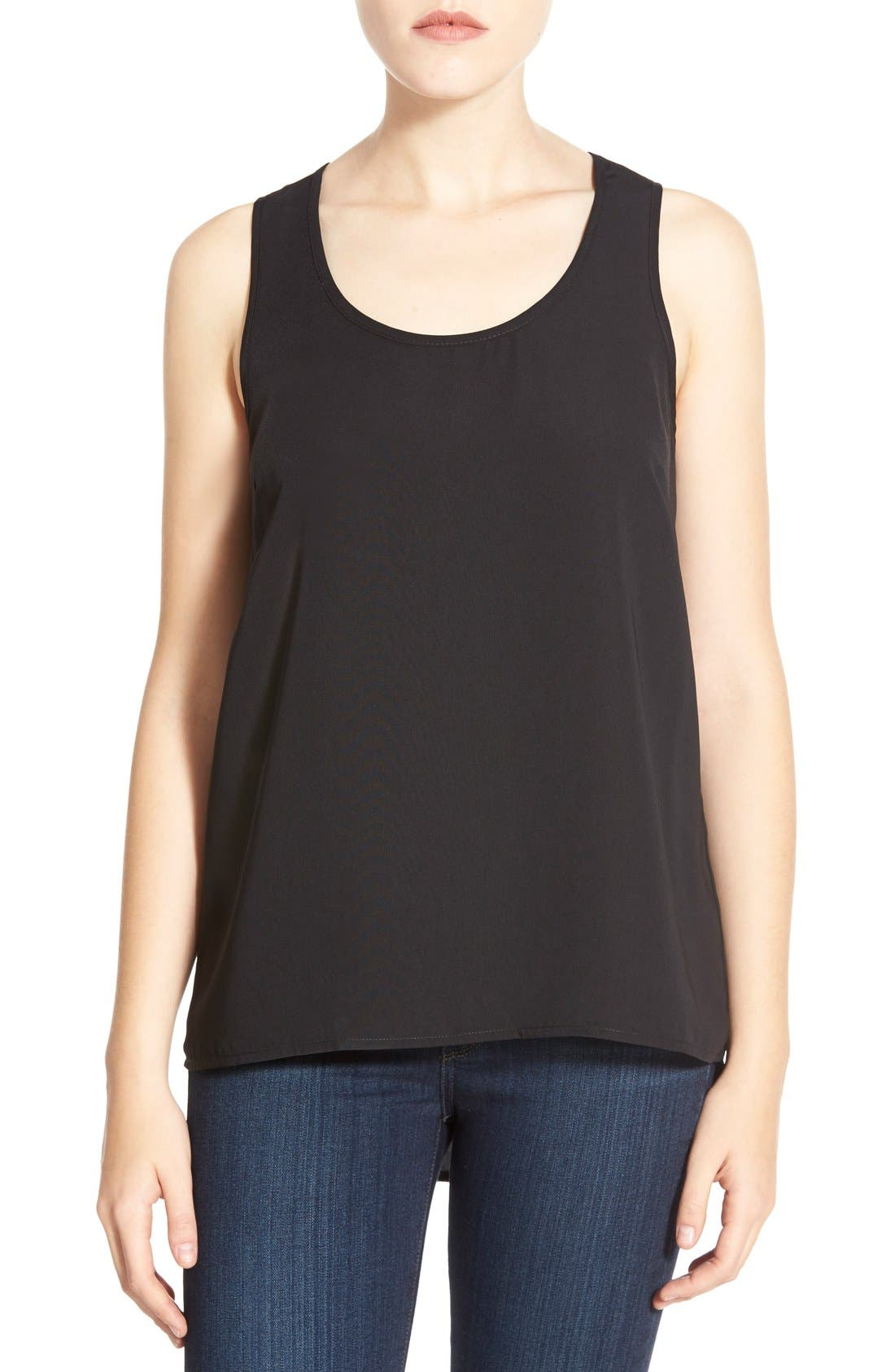HALOGEN® Scoop Neck Woven Tank