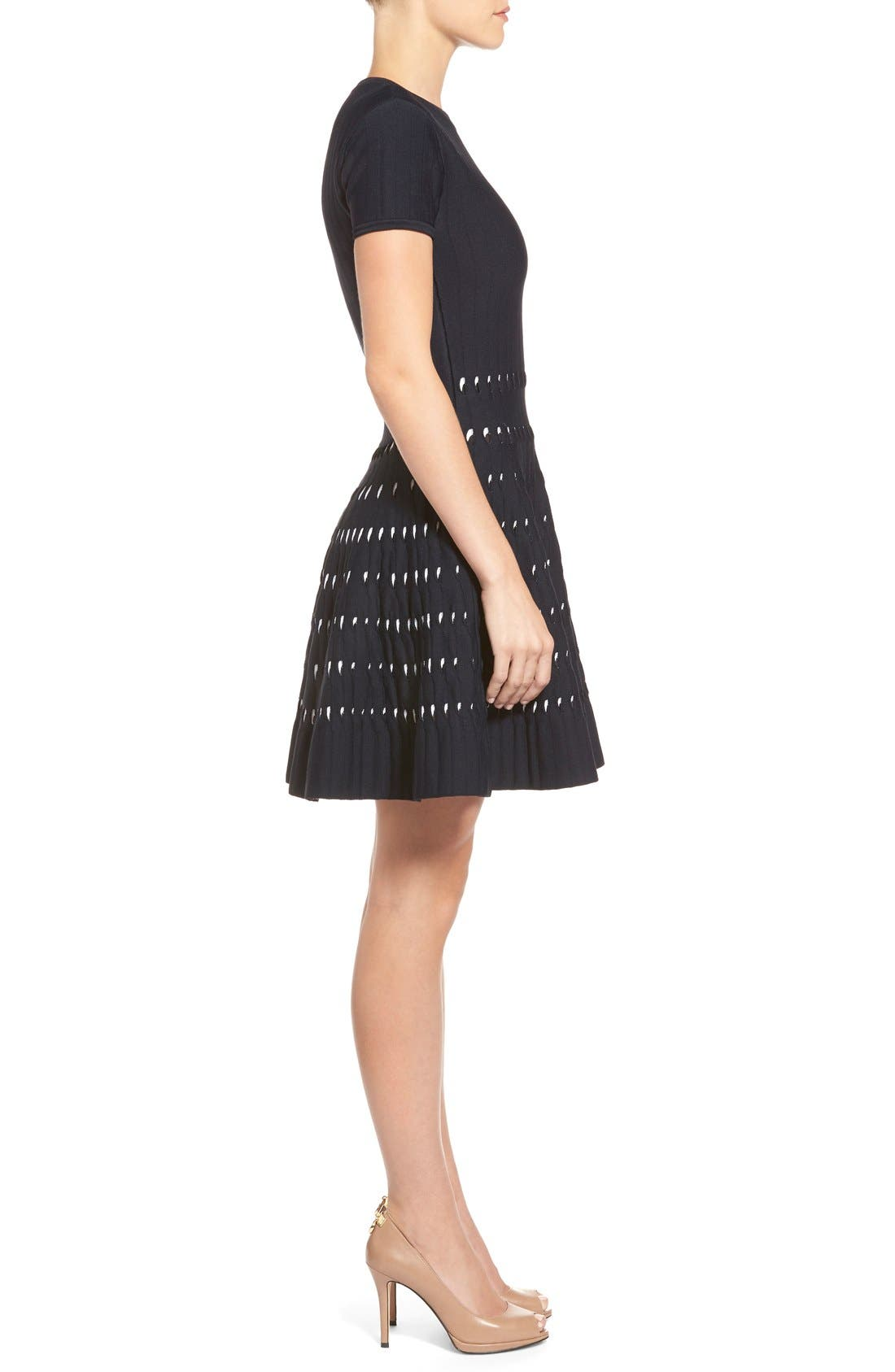 Alternate Image 3  - MICHAEL Michael Kors Pointelle Detail Sweater Knit Fit & Flare Dress