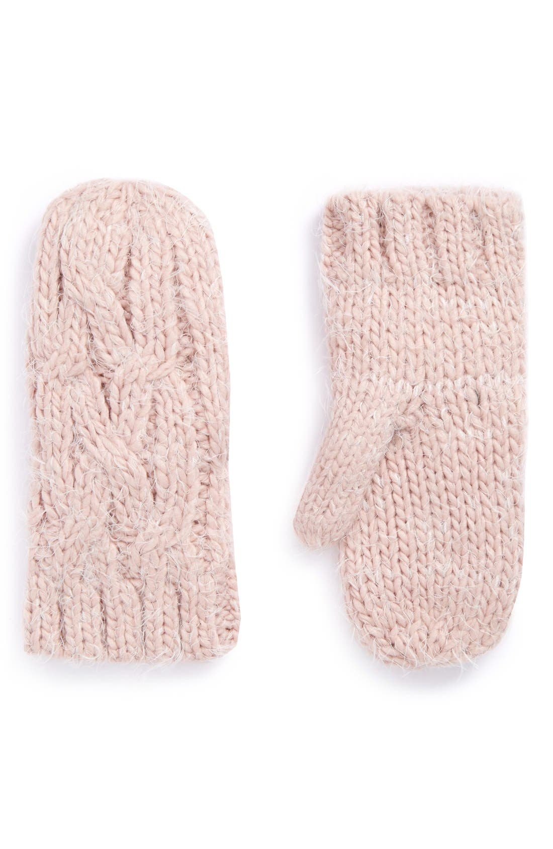 Main Image - Ruby & Bloom 'Eyelash' Cable Knit Mittens (Big Girls)