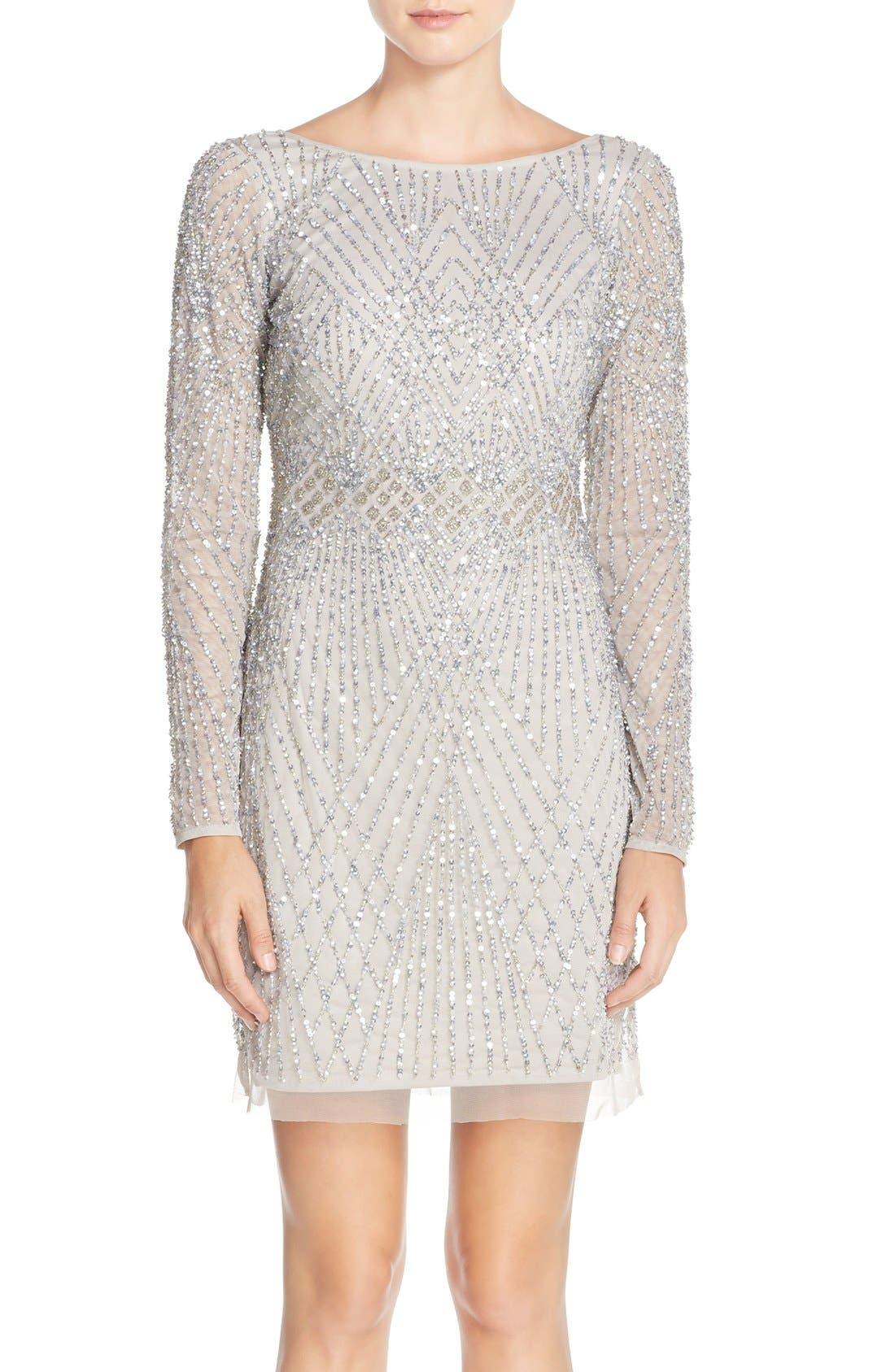 Main Image - Aidan Mattox Embellished Mesh Sheath Dress