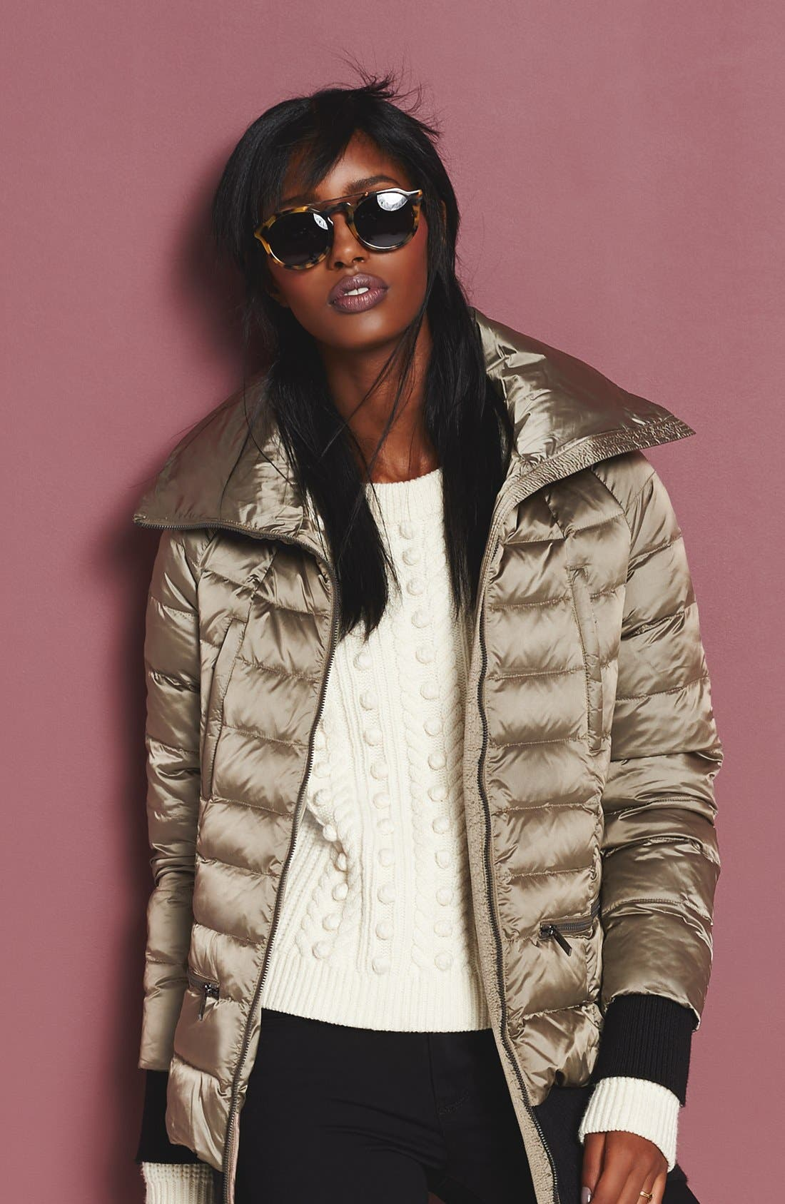Alternate Image 2  - French Connection Ribbed Trim Pillow Collar Down Jacket