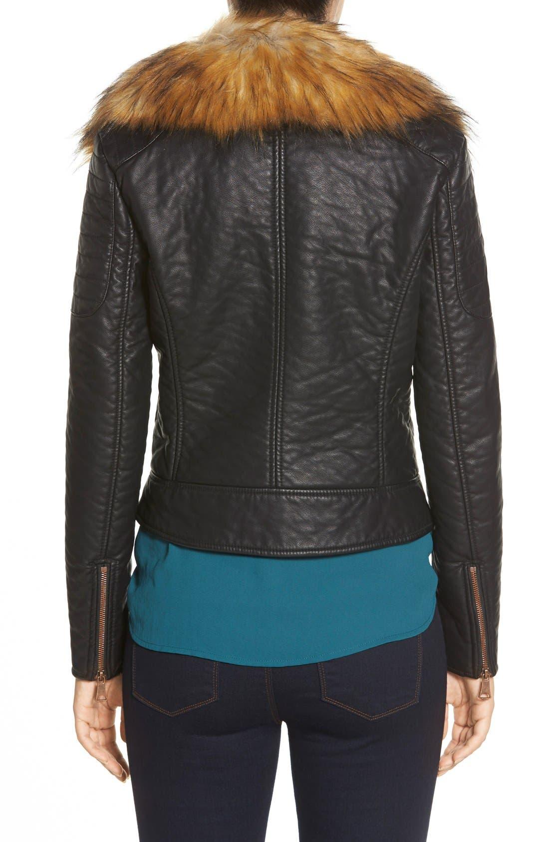 Alternate Image 2  - Marc New York 'Genna' Faux Fur Collar Faux Leather Moto Jacket