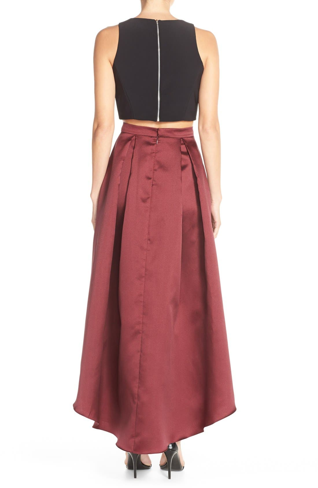 Alternate Image 2  - Xscape Embellished Satin Two-Piece Gown