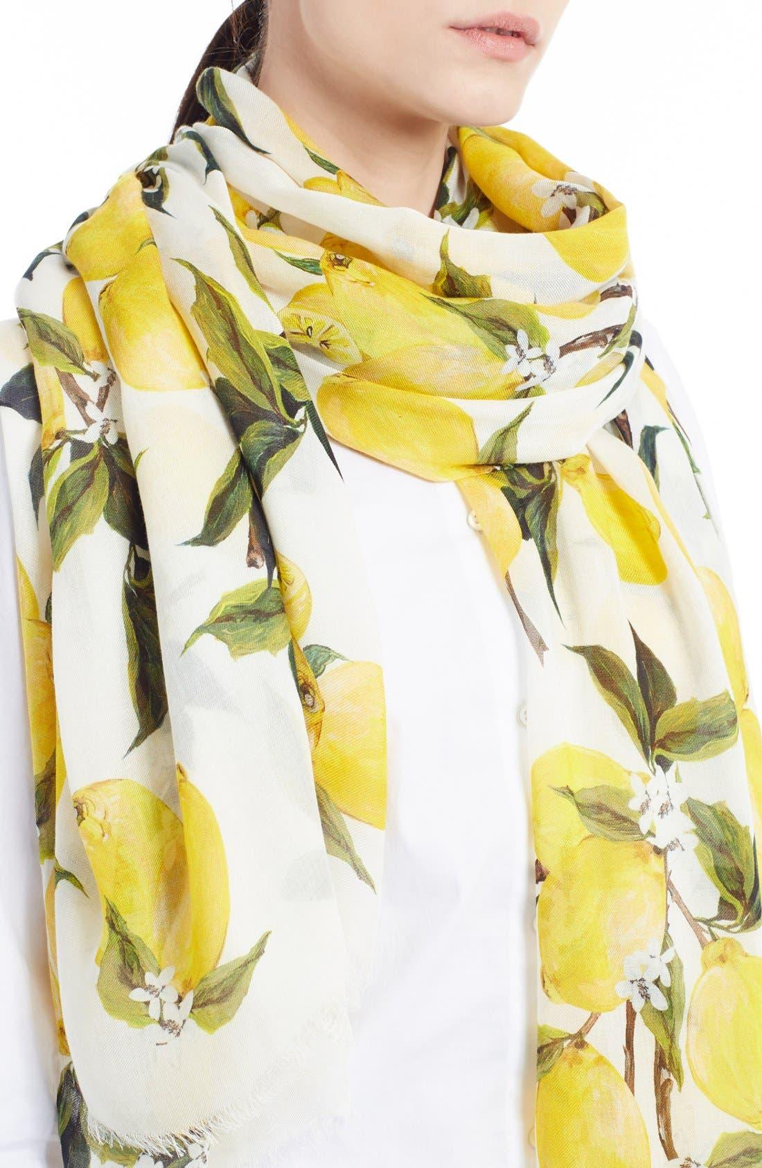 Main Image - Dolce&Gabbana Lemon Print Modal & Cashmere Scarf
