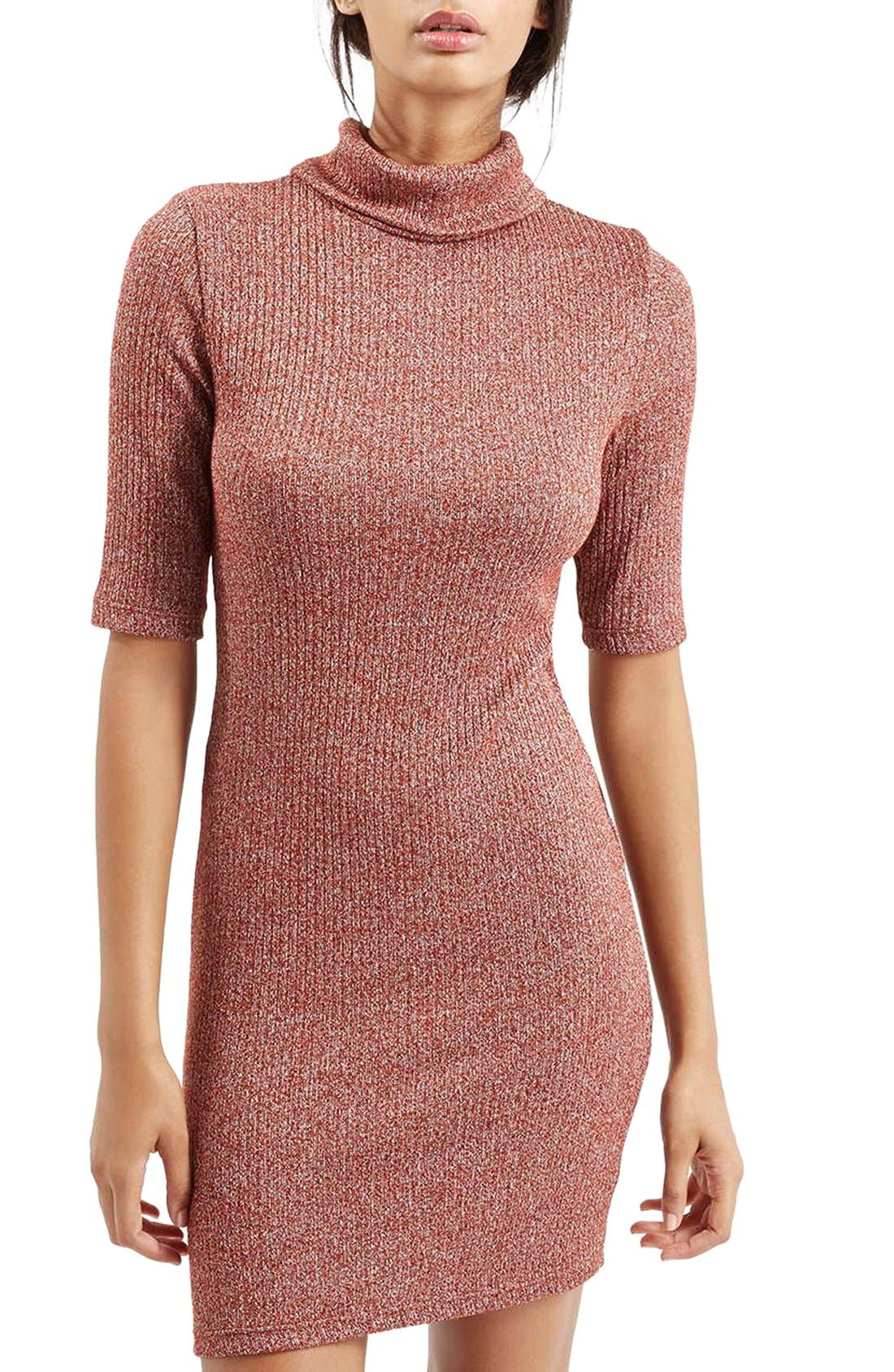Main Image - Topshop Ribbed Turtleneck Dress