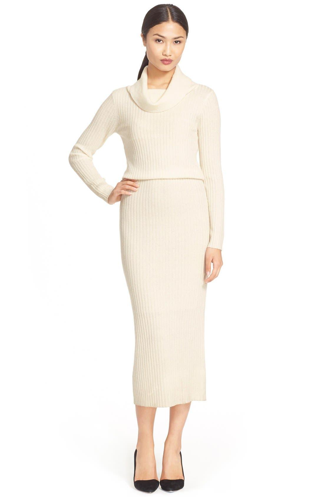 Main Image - Alice + Olivia 'Hailee' Cowl Neck Sweater Dress