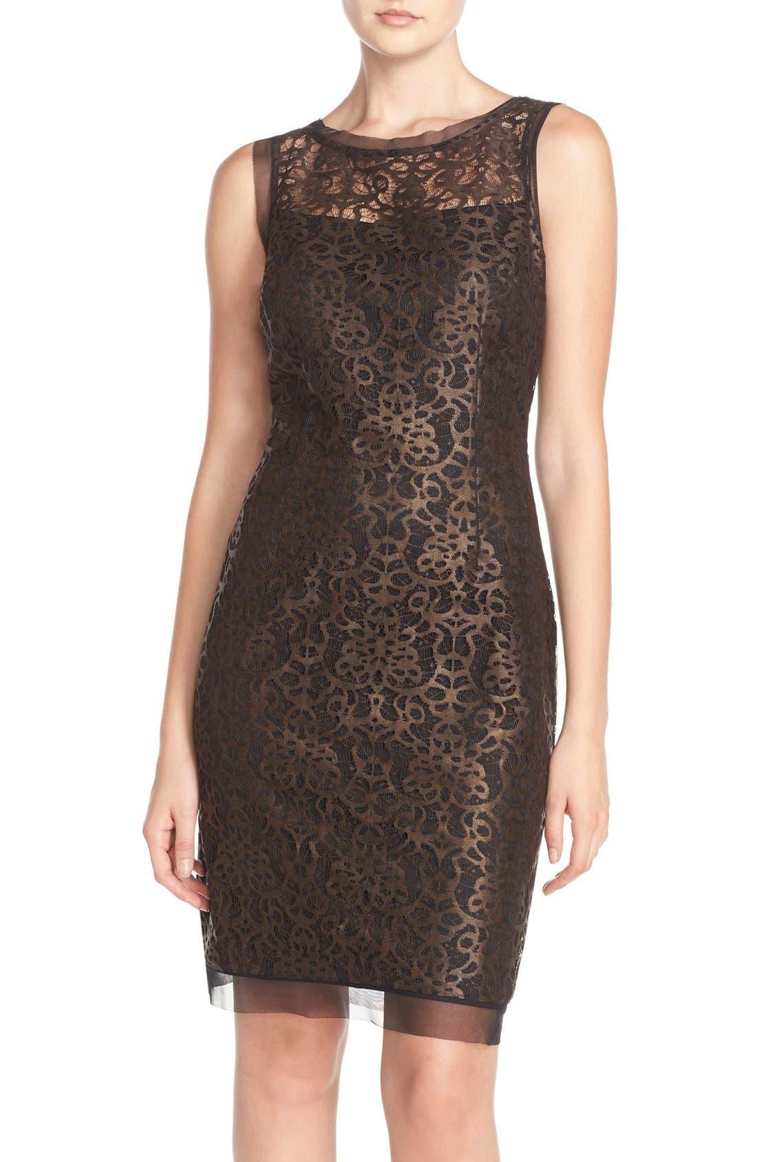 Alternate Image 1 Selected - Julia Jordan Metallic Lace Sheath Dress