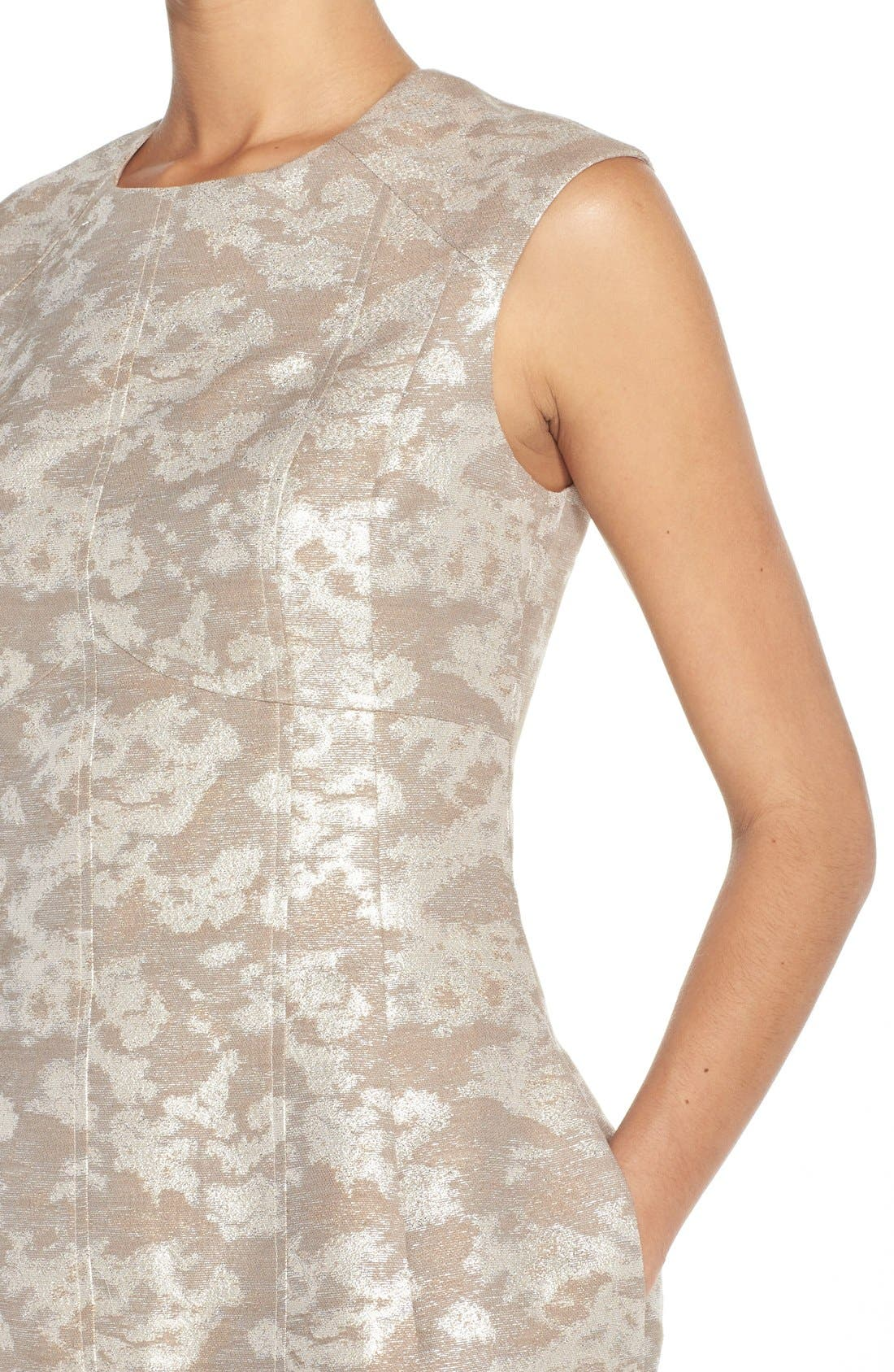 Alternate Image 4  - Aidan by Aidan Mattox Metallic Jacquard Sheath Dress