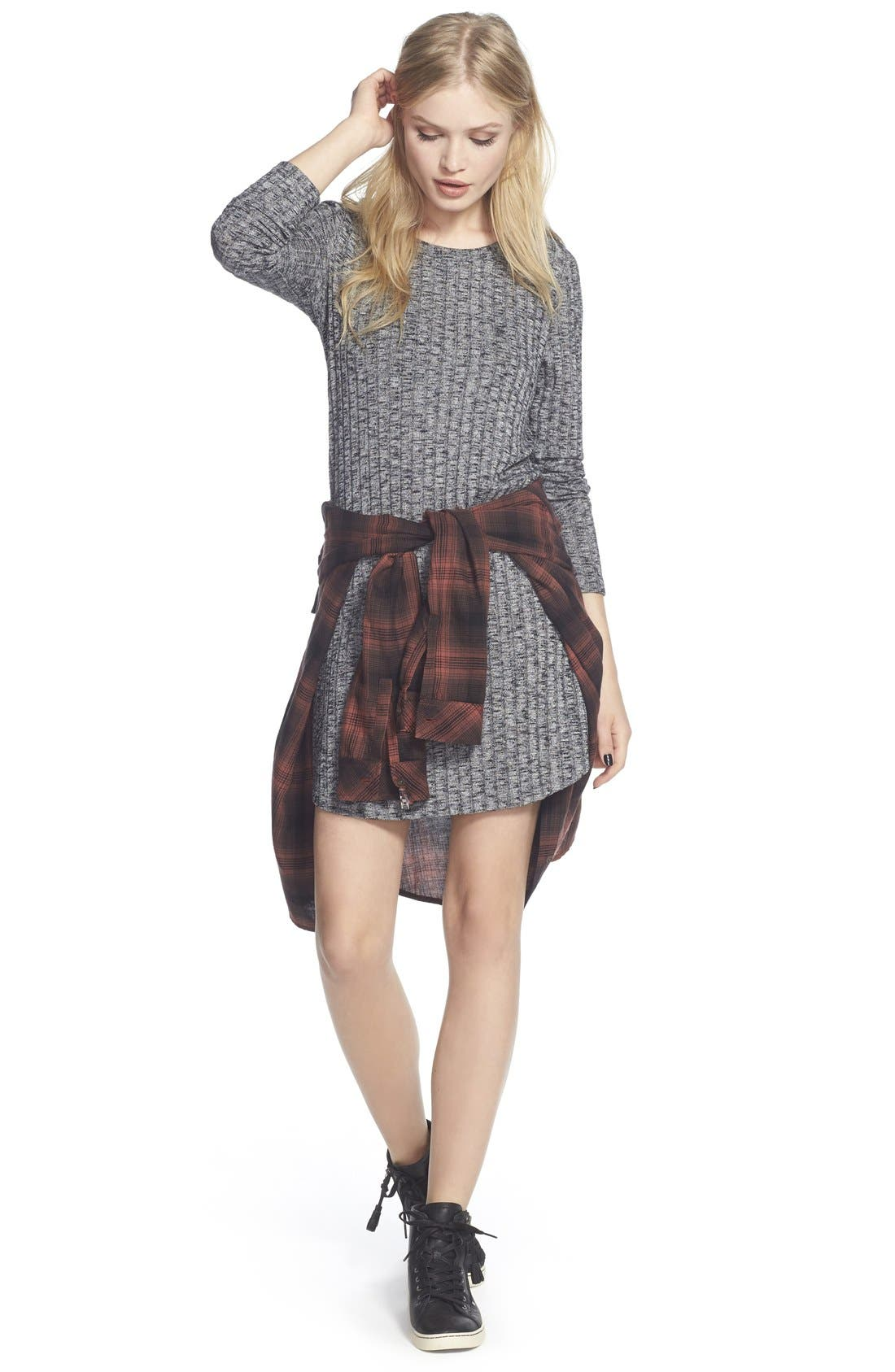 Alternate Image 2  - Everly Ribbed Long Sleeve Sweater Dress
