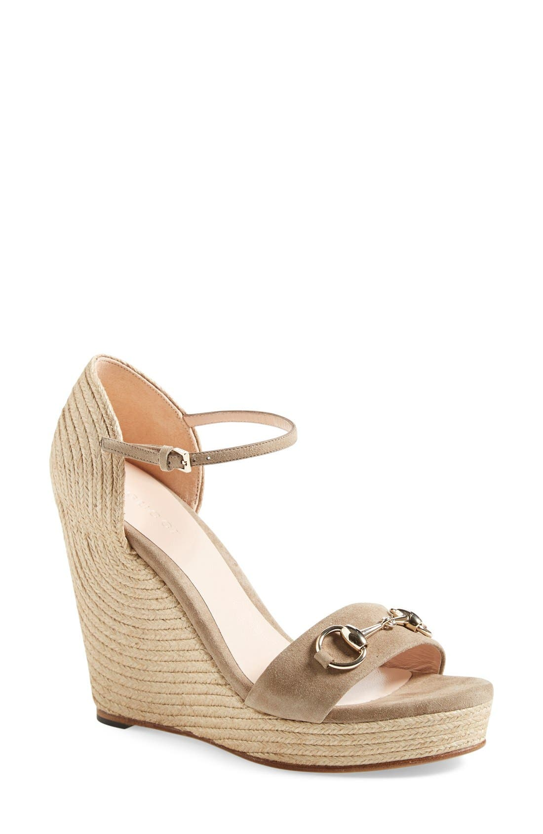 Main Image - Gucci Carolina Ankle Strap Wedge (Women)