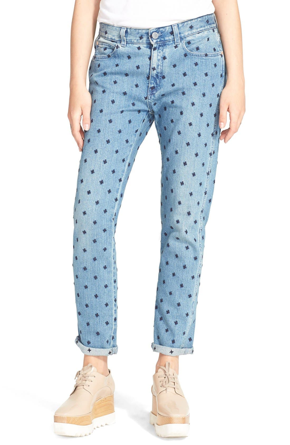 Main Image - Stella McCartney 'The Skinny' Star Embroidered Boyfriend Jeans (Classic Blue)