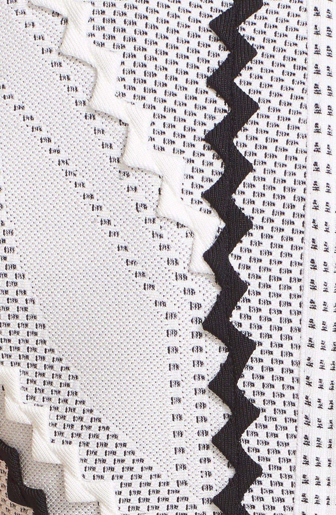 Alternate Image 3  - Herve Leger 'Morena' Zigzag Appliqué Pointelle Knit Fit & Flare Dress
