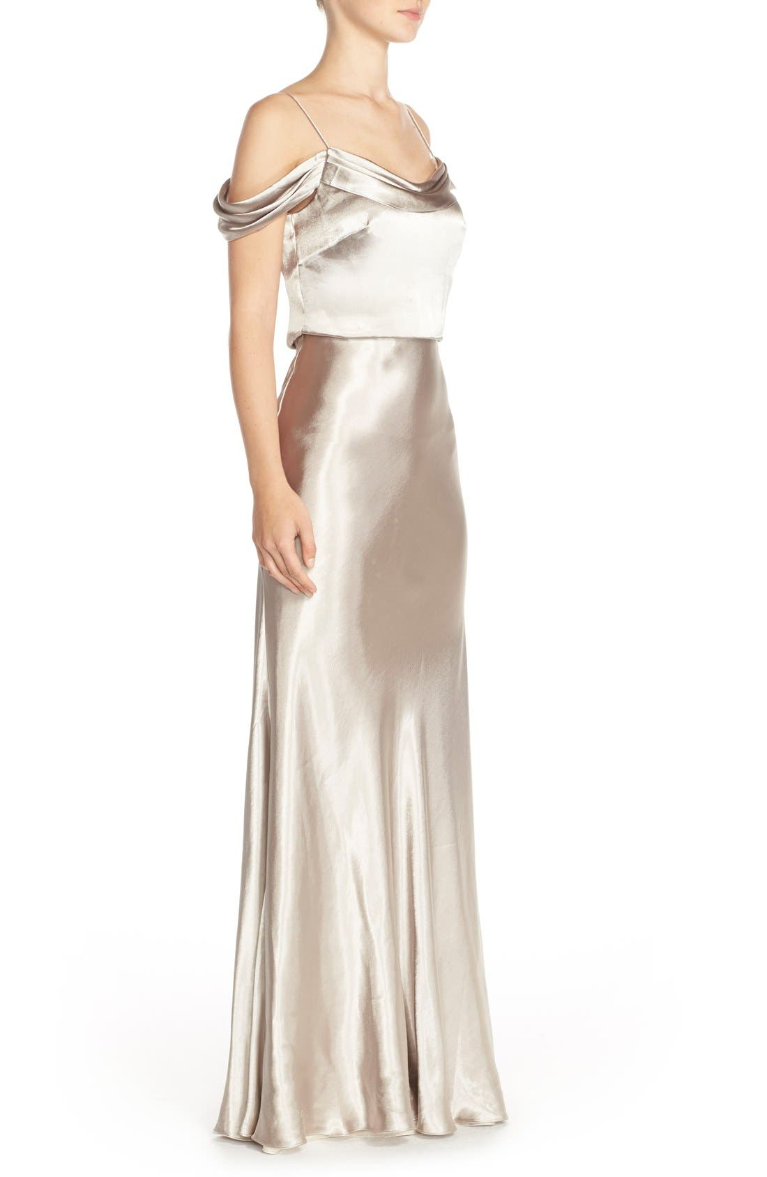 Alternate Image 3  - Jenny Yoo 'Sabine' Draped Pleat Neck Charmeuse Gown