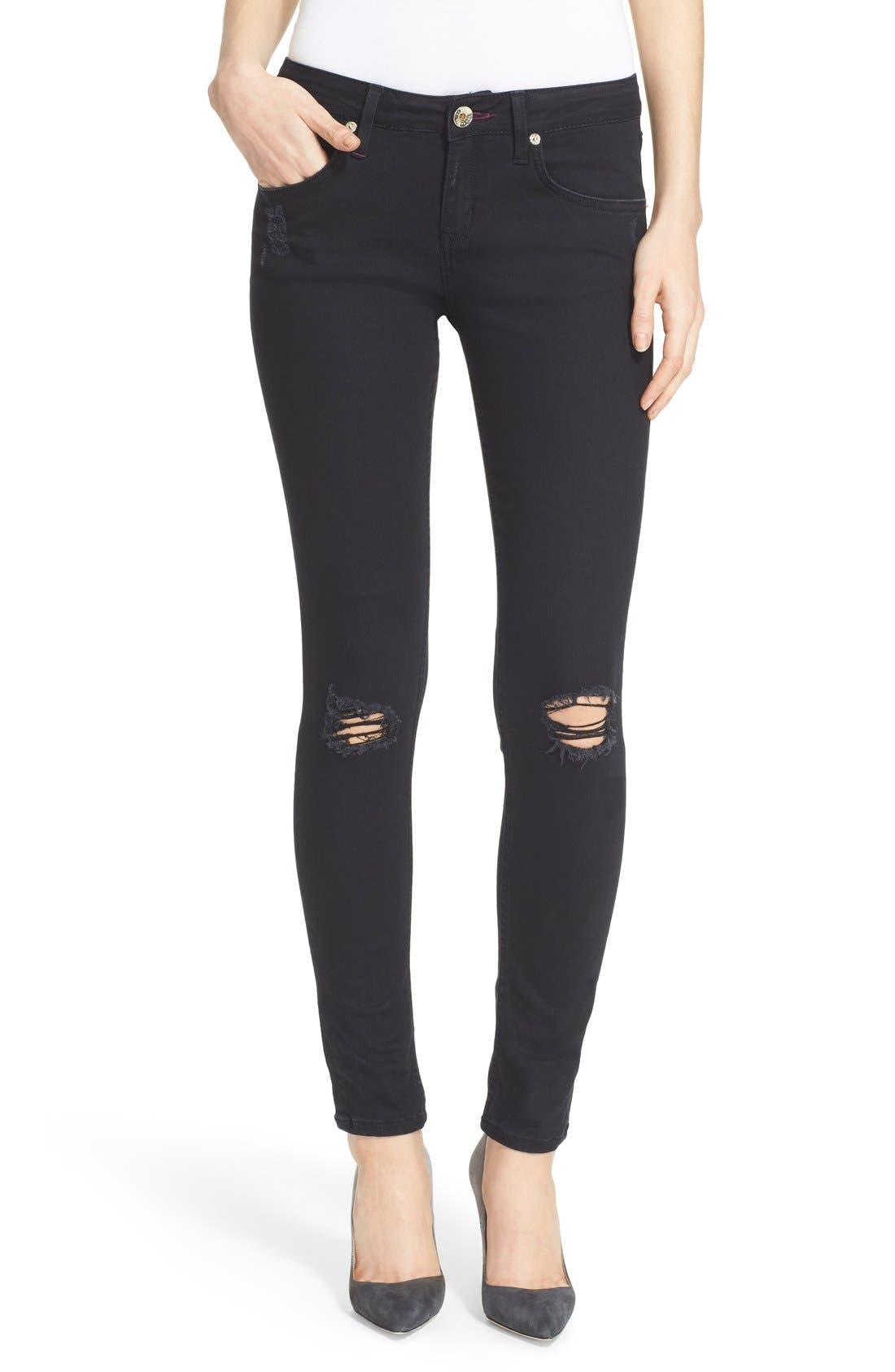 Alternate Image 1 Selected - Ted Baker London 'Platt' Abrasion Skinny Jeans (Black)