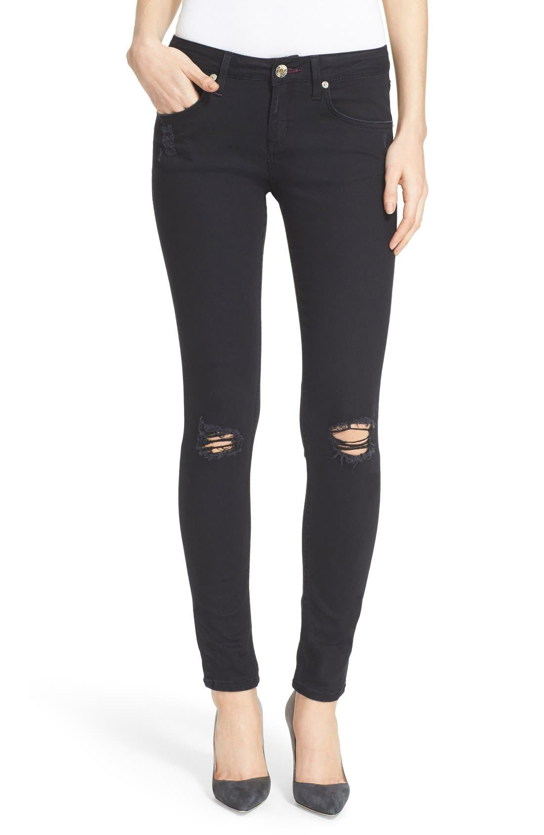 Main Image - Ted Baker London 'Platt' Abrasion Skinny Jeans (Black)