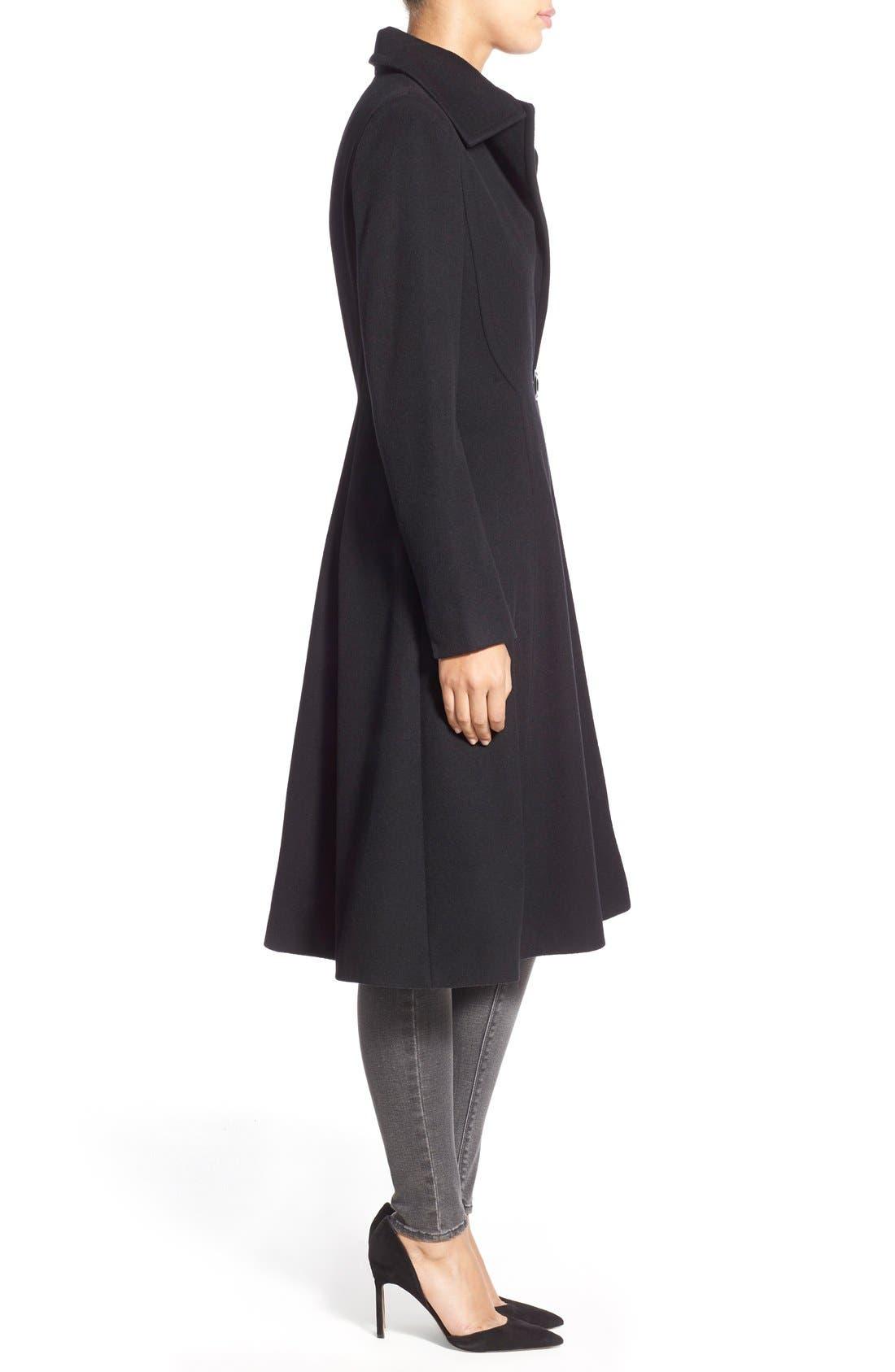Alternate Image 3  - Vera Wang Herringbone Long Fit & Flare Coat