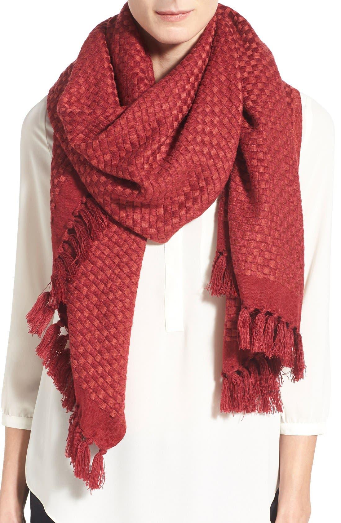 Alternate Image 1 Selected - Halogen® Basket Weave Wrap Scarf
