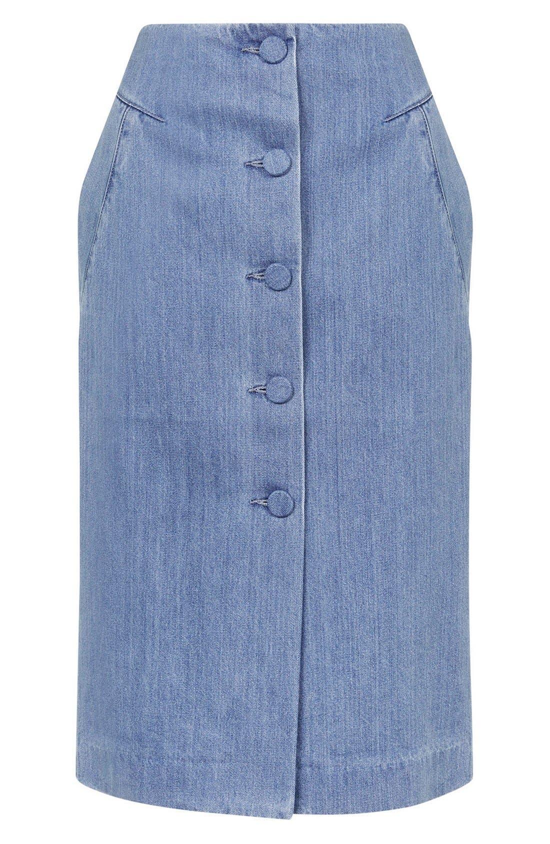 Alternate Image 5  - Topshop Unique 'Whitcomb' Button Front Denim Midi Skirt