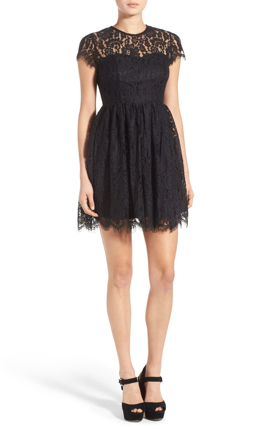 Alternate Image 1 Selected - Glamorous Lace Open Back Fit & Flare Dress