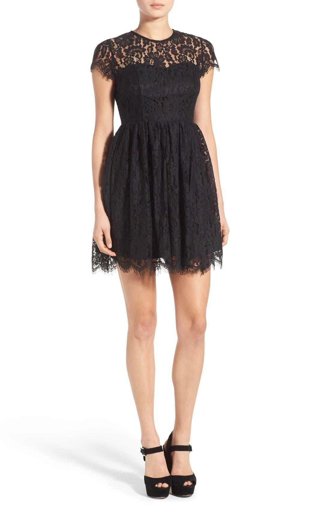 Main Image - Glamorous Lace Open Back Fit & Flare Dress