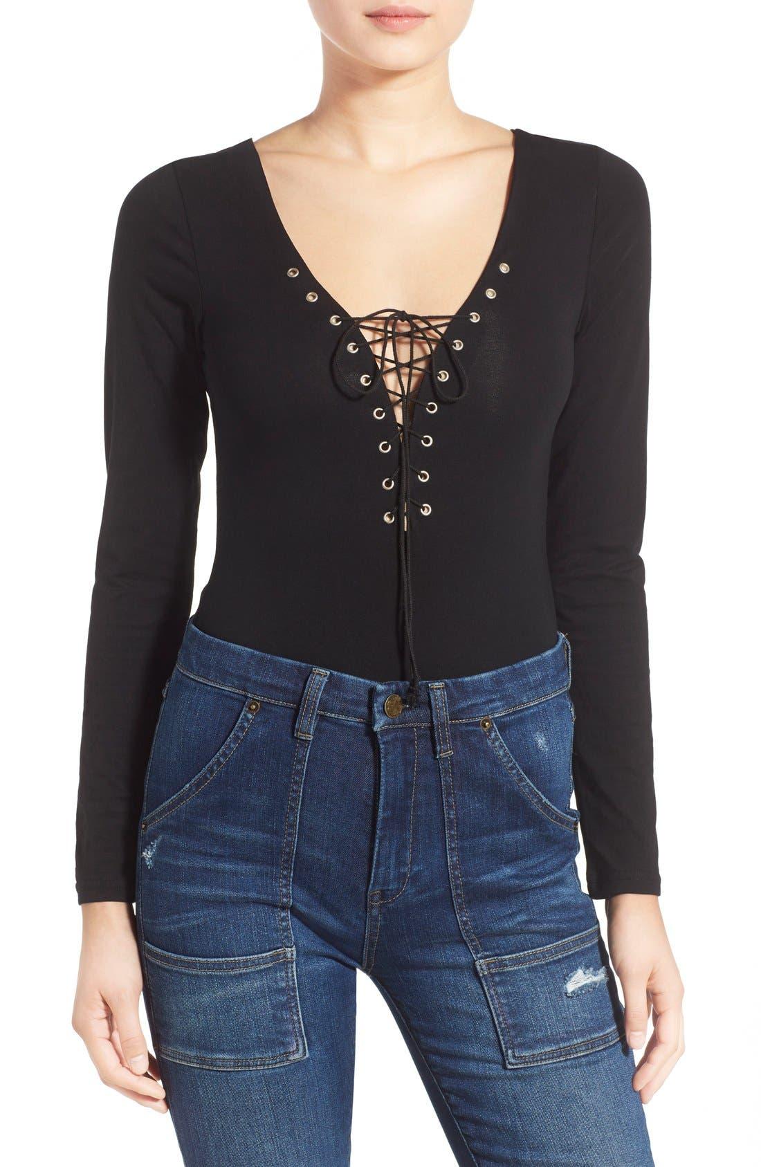 Main Image - Glamorous Long Sleeve Lace-Up Bodysuit