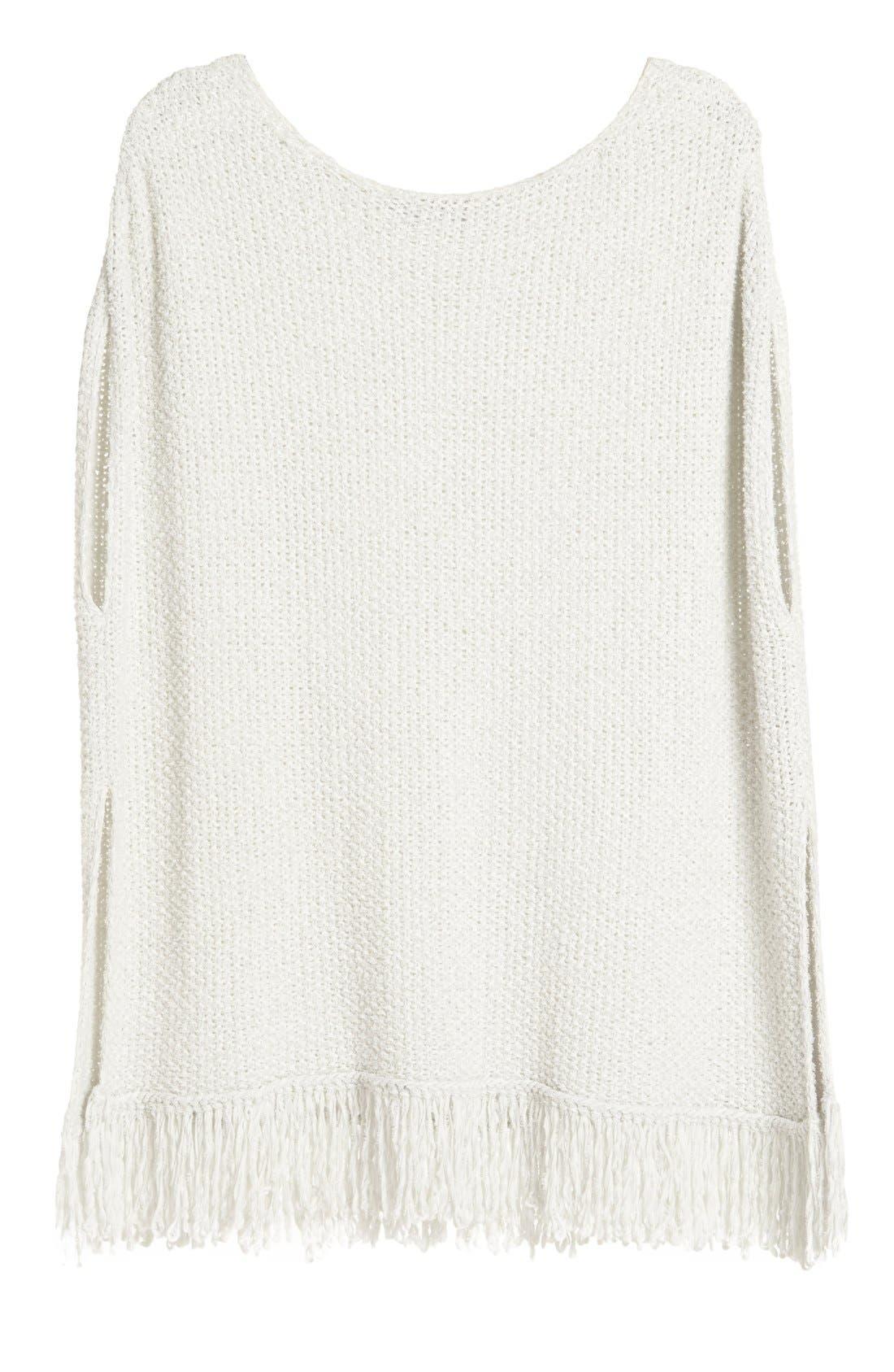 Alternate Image 4  - Fabiana Filippi Fringe Trim Cotton Blend Poncho Sweater
