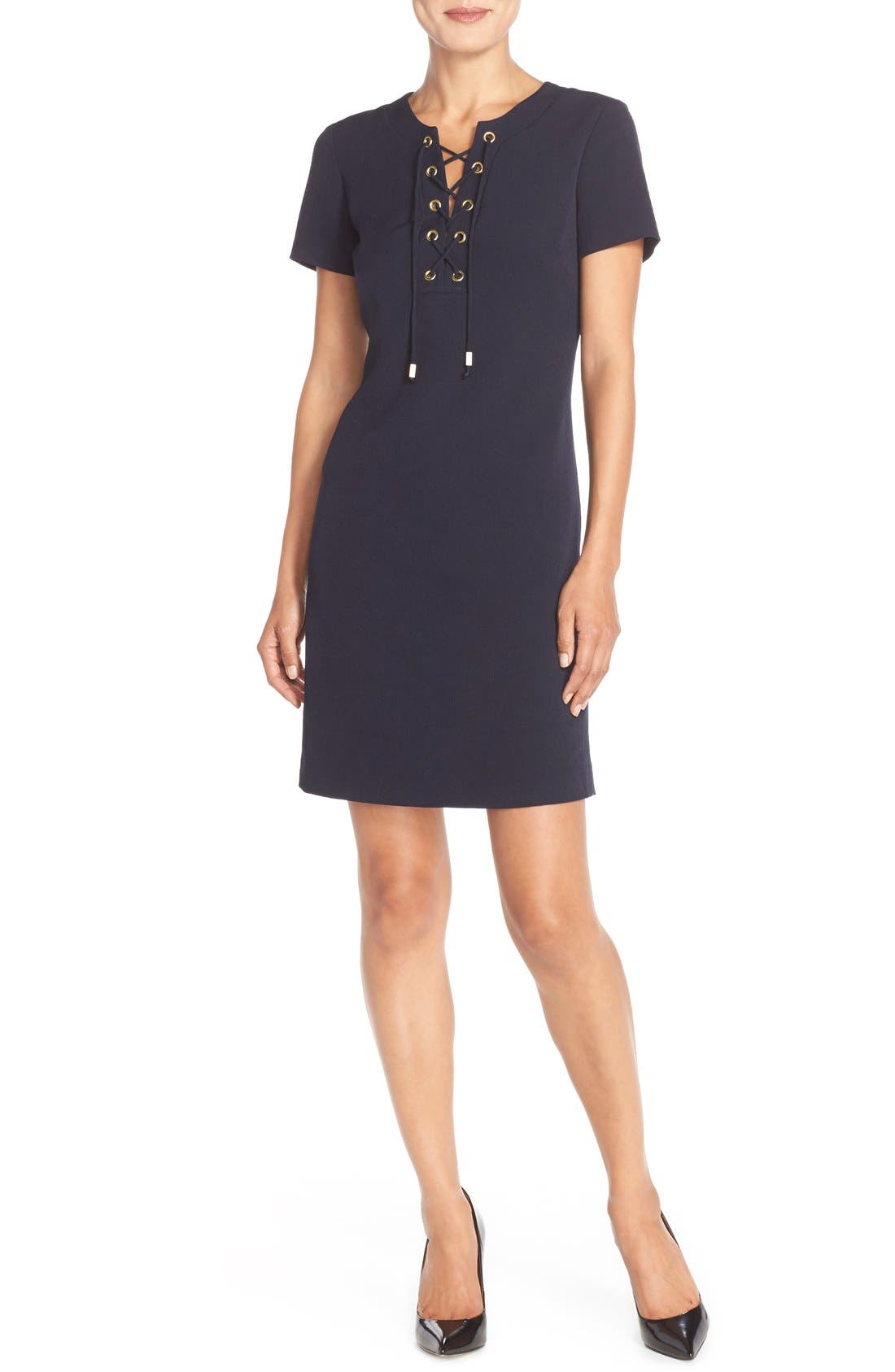 Alternate Image 4  - Eliza J Front Lace Shift Dress (Regular & Petite)