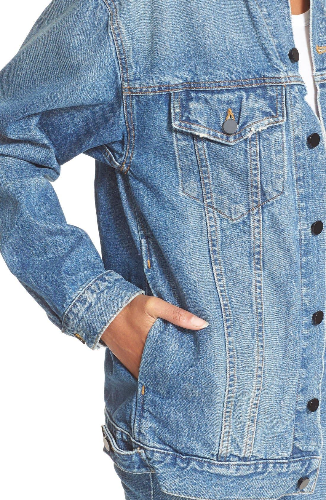 Alternate Image 4  - T by Alexander Wang Daze Oversized Denim Jacket