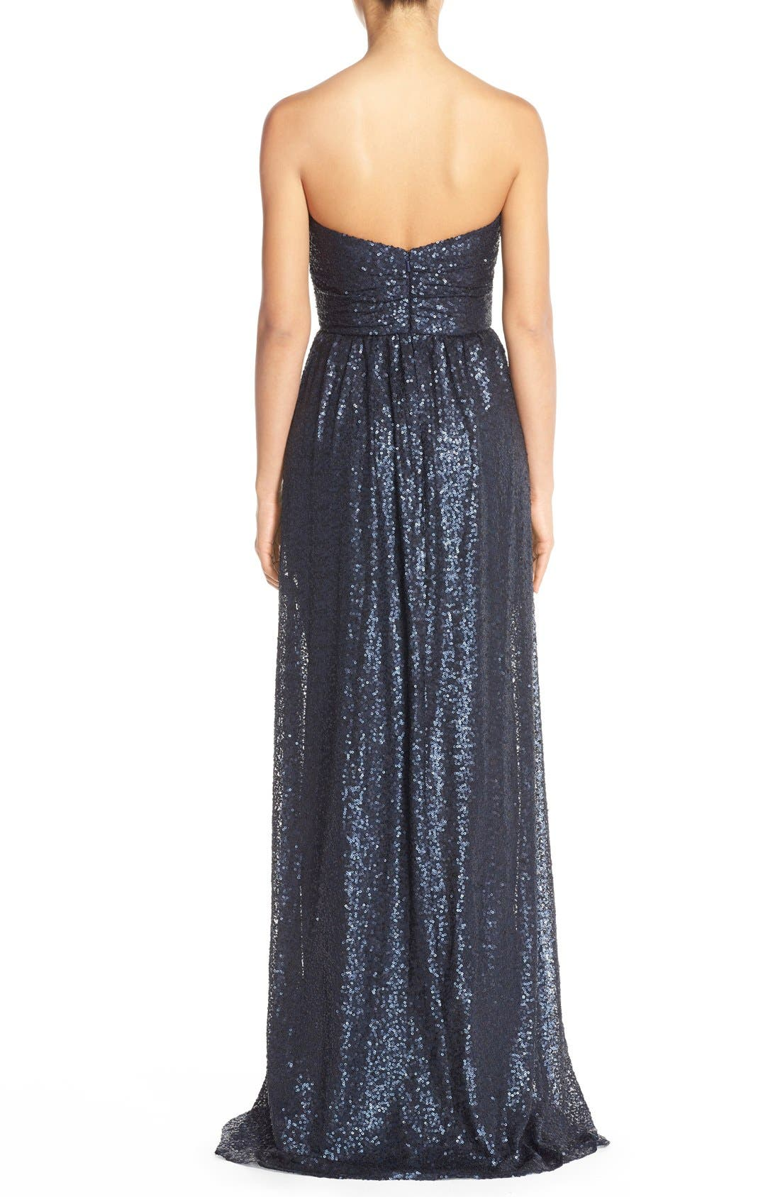 Alternate Image 2  - Amsale 'London' Sequin Tulle Strapless Column Gown