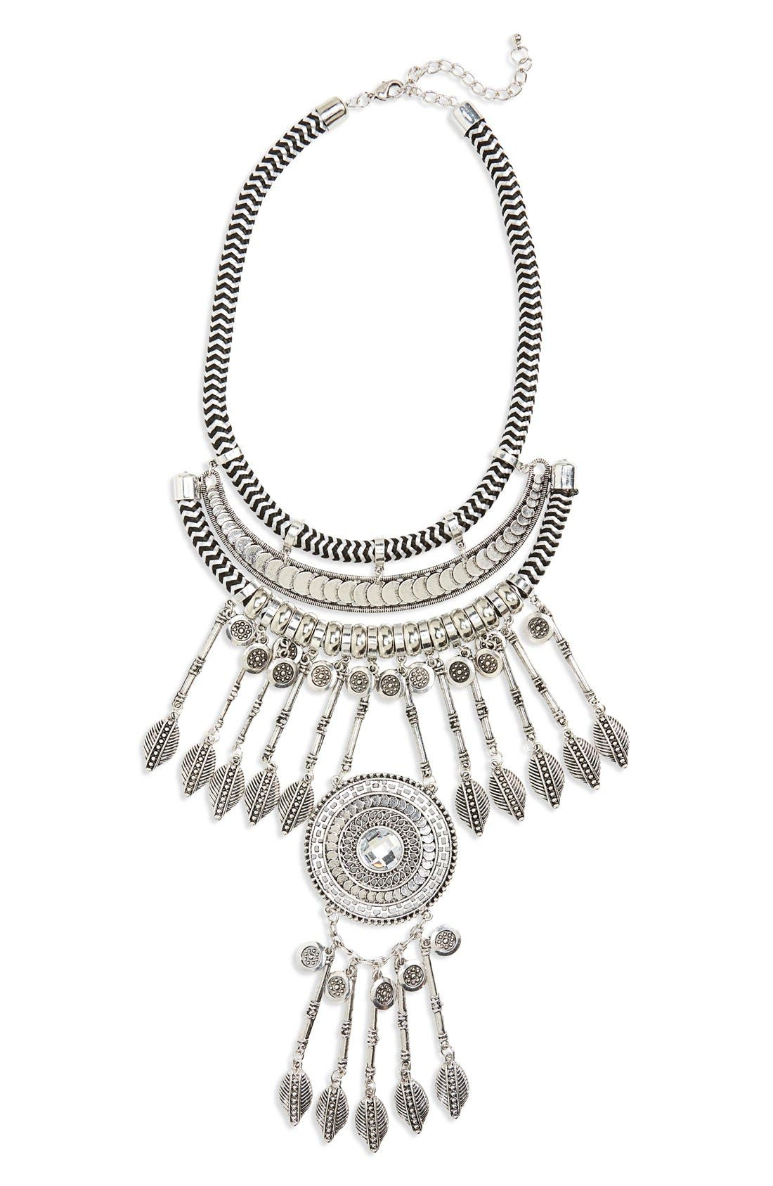 Main Image - Leith Crystal Coin Fringe Cord Statement Necklace